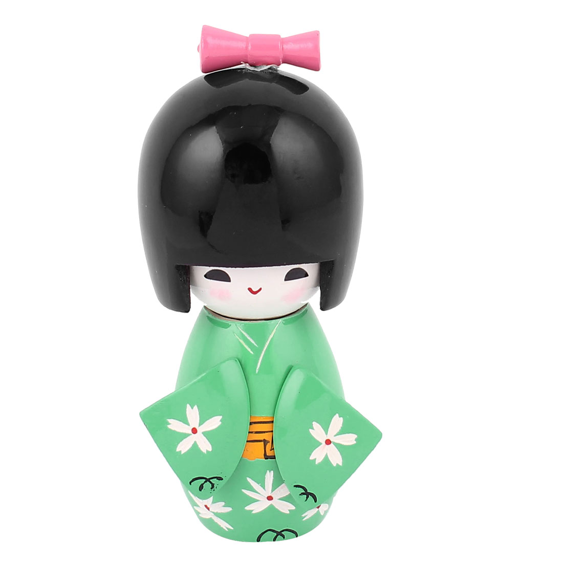 Japanese Engraved Flower Pattern Black Head Green Body Kokeshi Doll