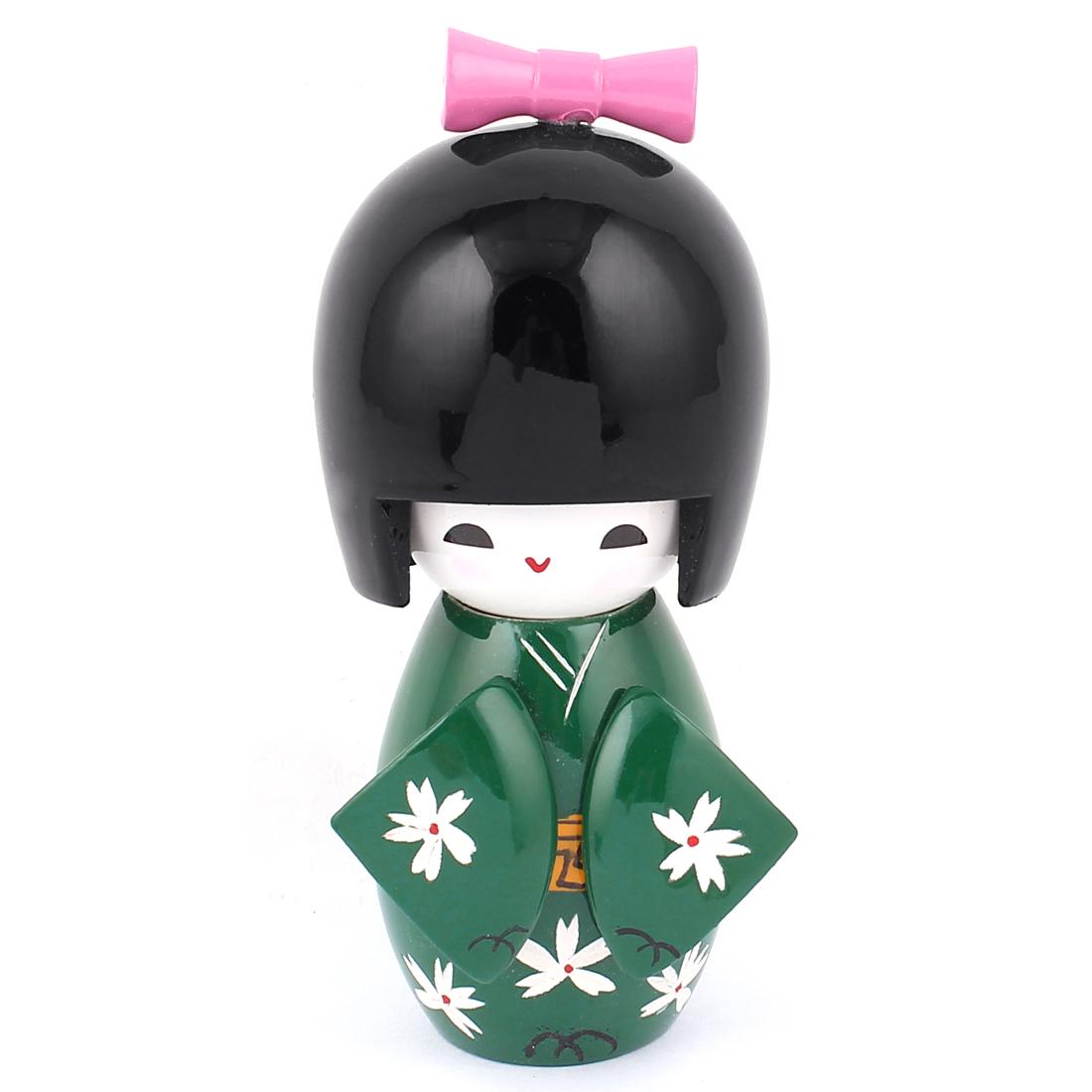 Dark Green Wooden Flower Print Japanese Kimono Kokeshi Doll Ornament