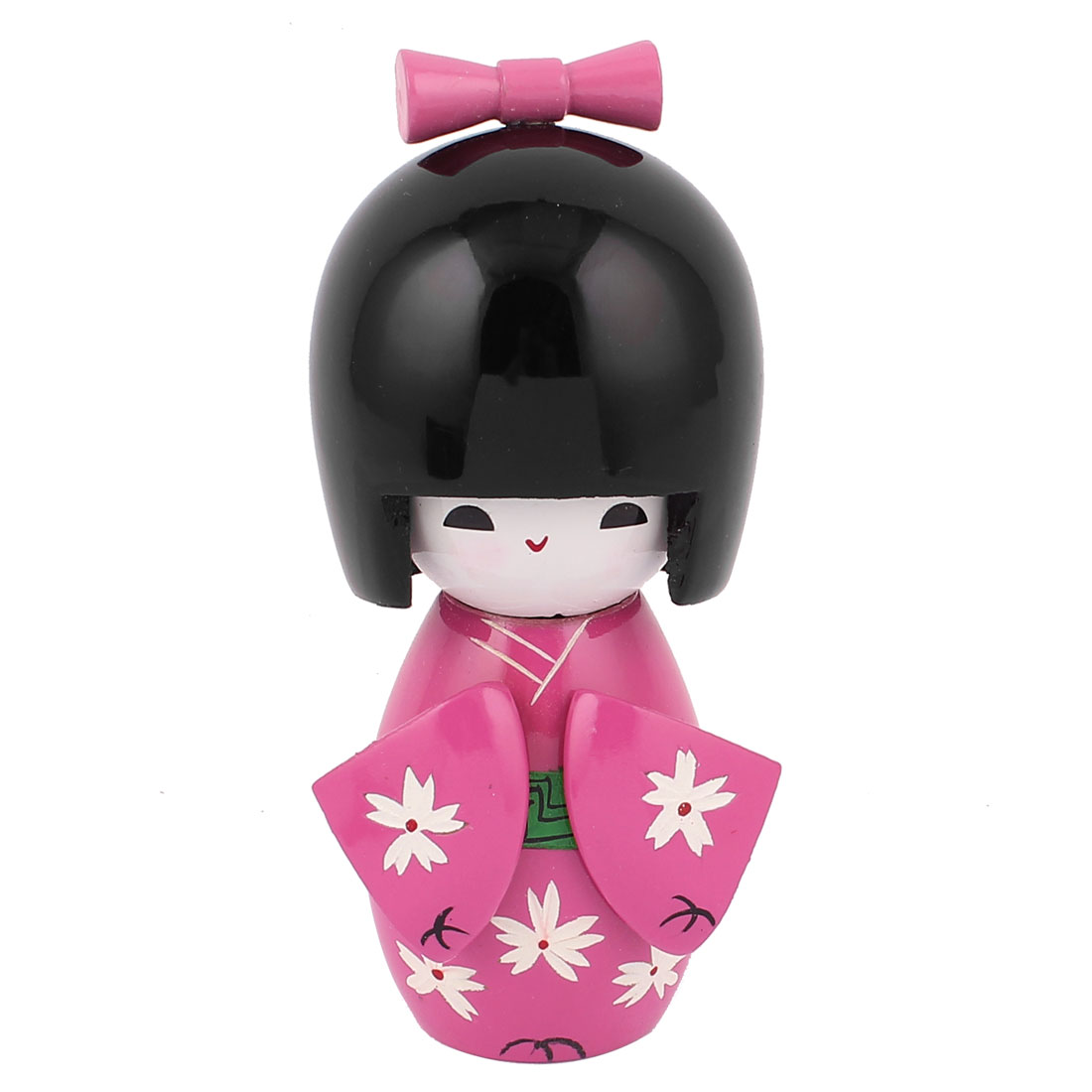 Flower Pattern Fuchsia Kimono Japanese Wood Kokeshi Doll