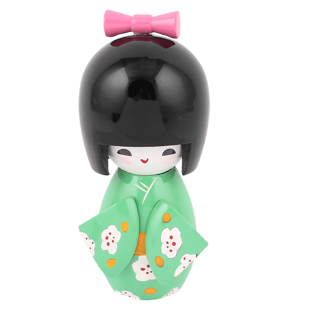 Girl Style Red Dotted White Flower Pattern Wooden Craft Kokeshi Doll