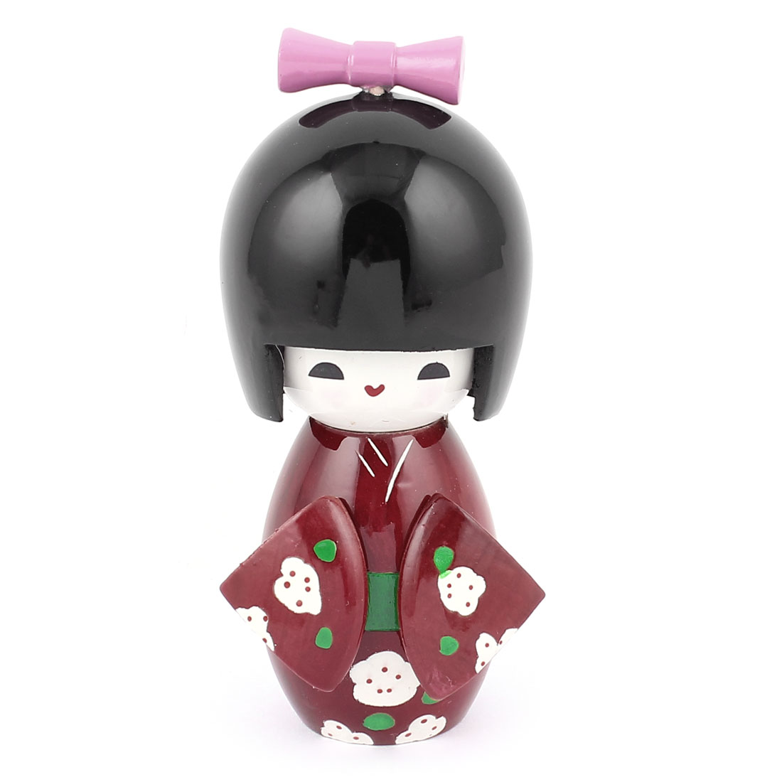 Burgundy Kimono Green White Flower Pattern Wooden Kokeshi Doll