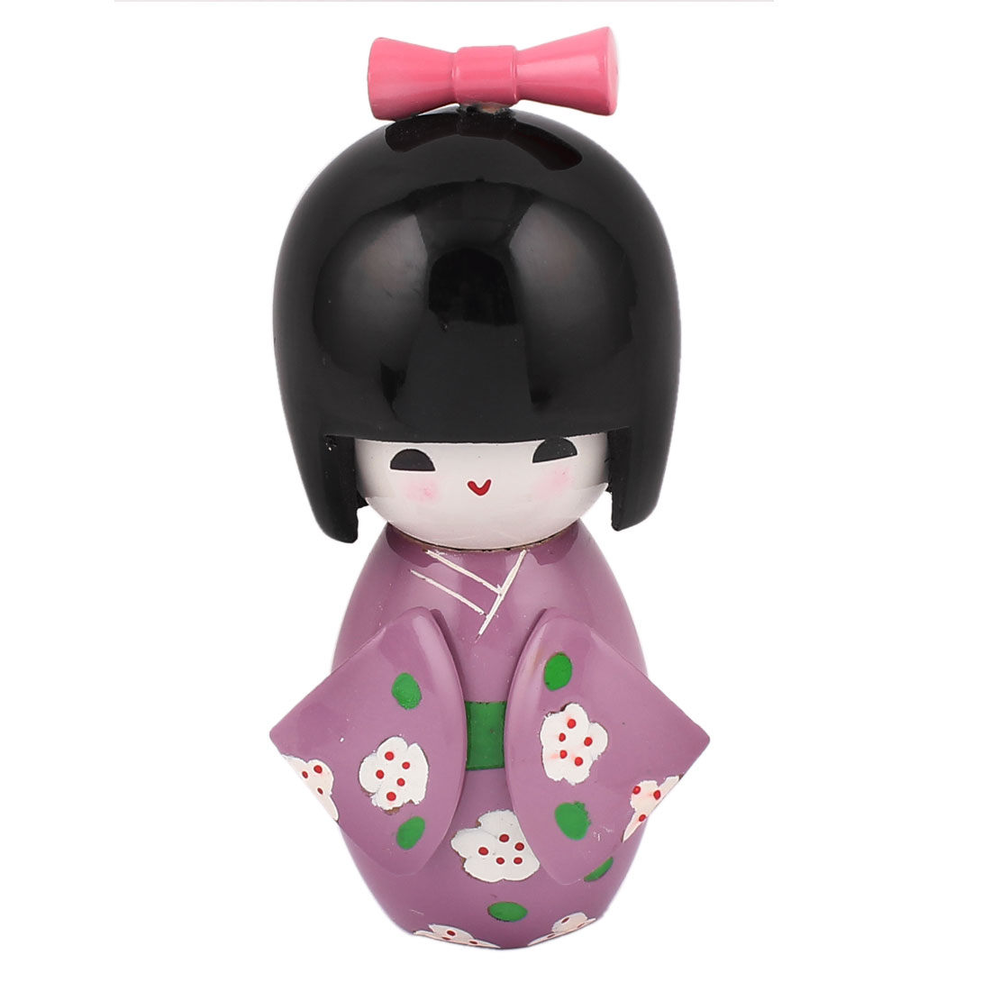Flower Printed Wooden Japanese Purple Kimono Kokeshi Doll for Kids