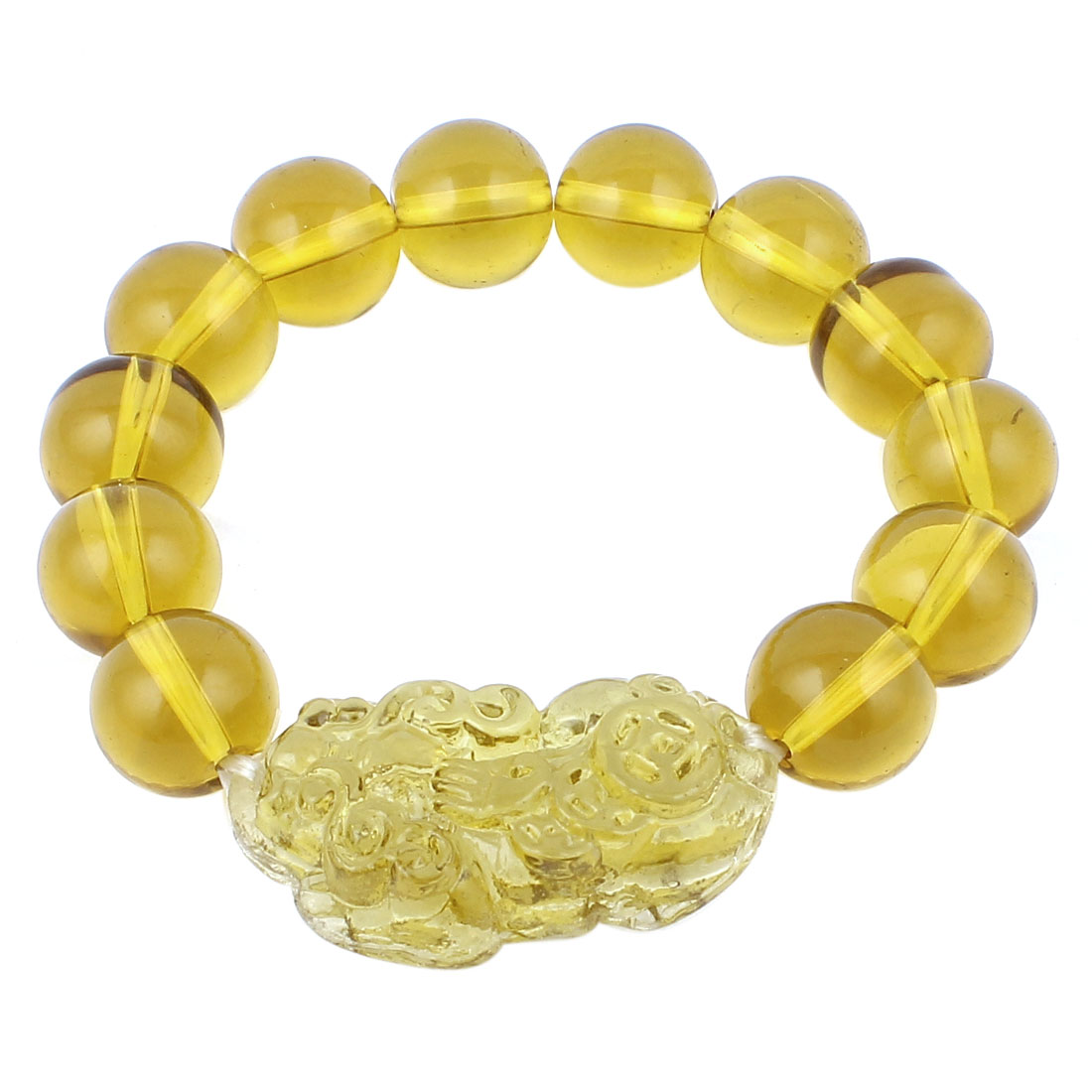 Carved Brave Troops Pattern Buddha Beads Elastic Crystal Bracelet Yellow