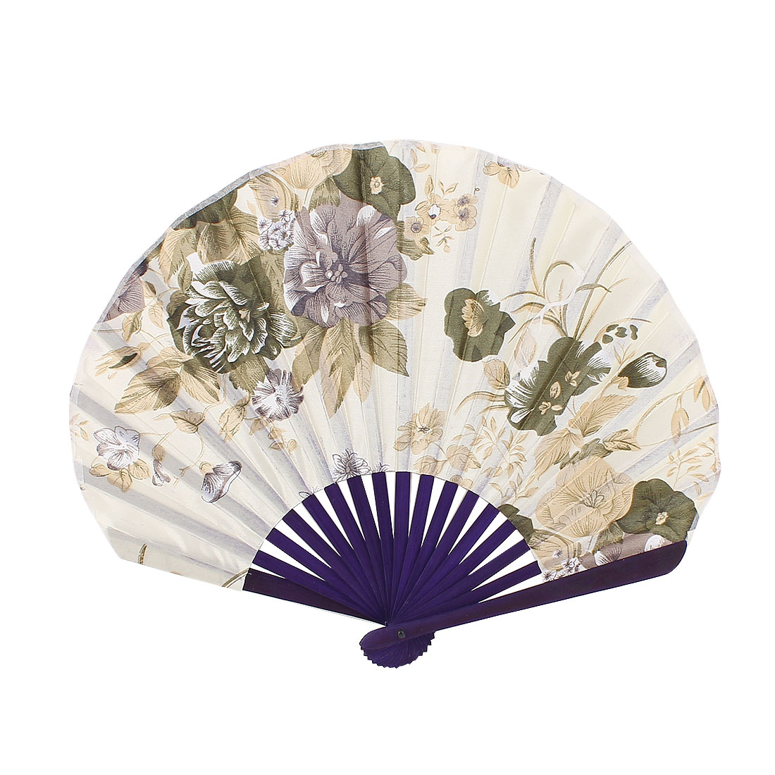 Flower Printed Purple Bamboo Frame Folding Hand Fan