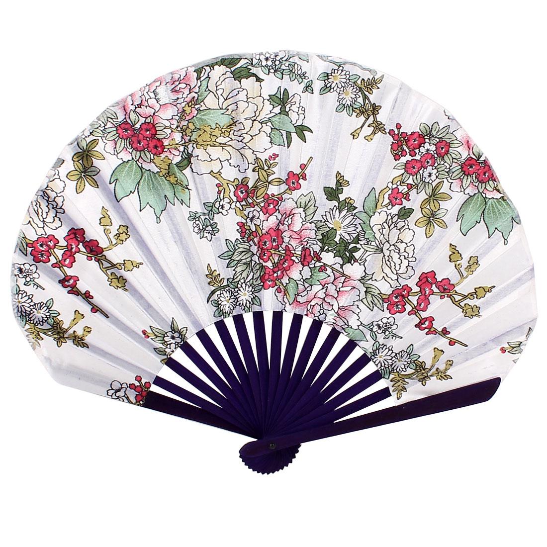 Purple Bamboo Frame White Floral Pattern Hand Folding Fan