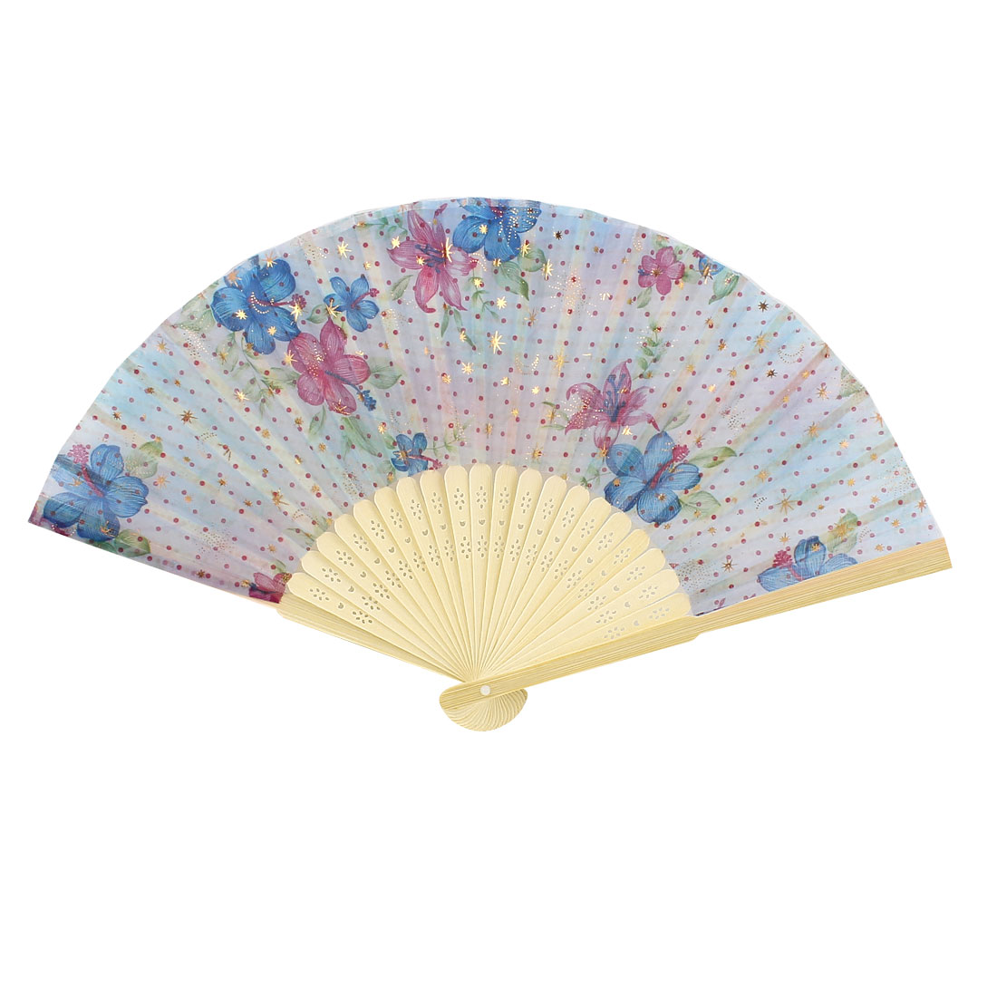 Red Blue Flower Printed Bamboo Hollow Handle Foldable Hand Fan
