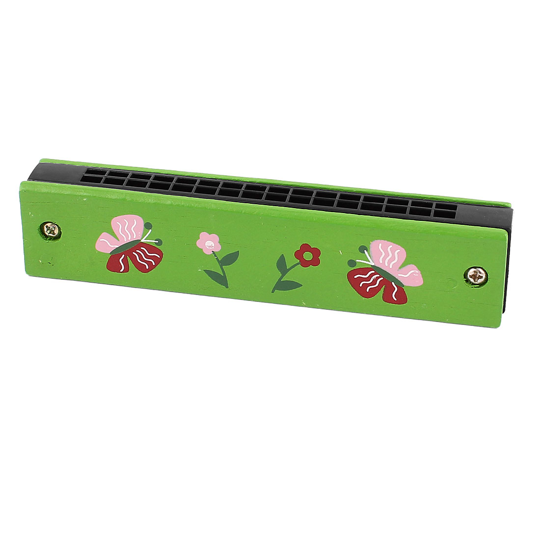 Butterfly Flower Printed Green Wood Dual Rows 32 Holes Harmonica