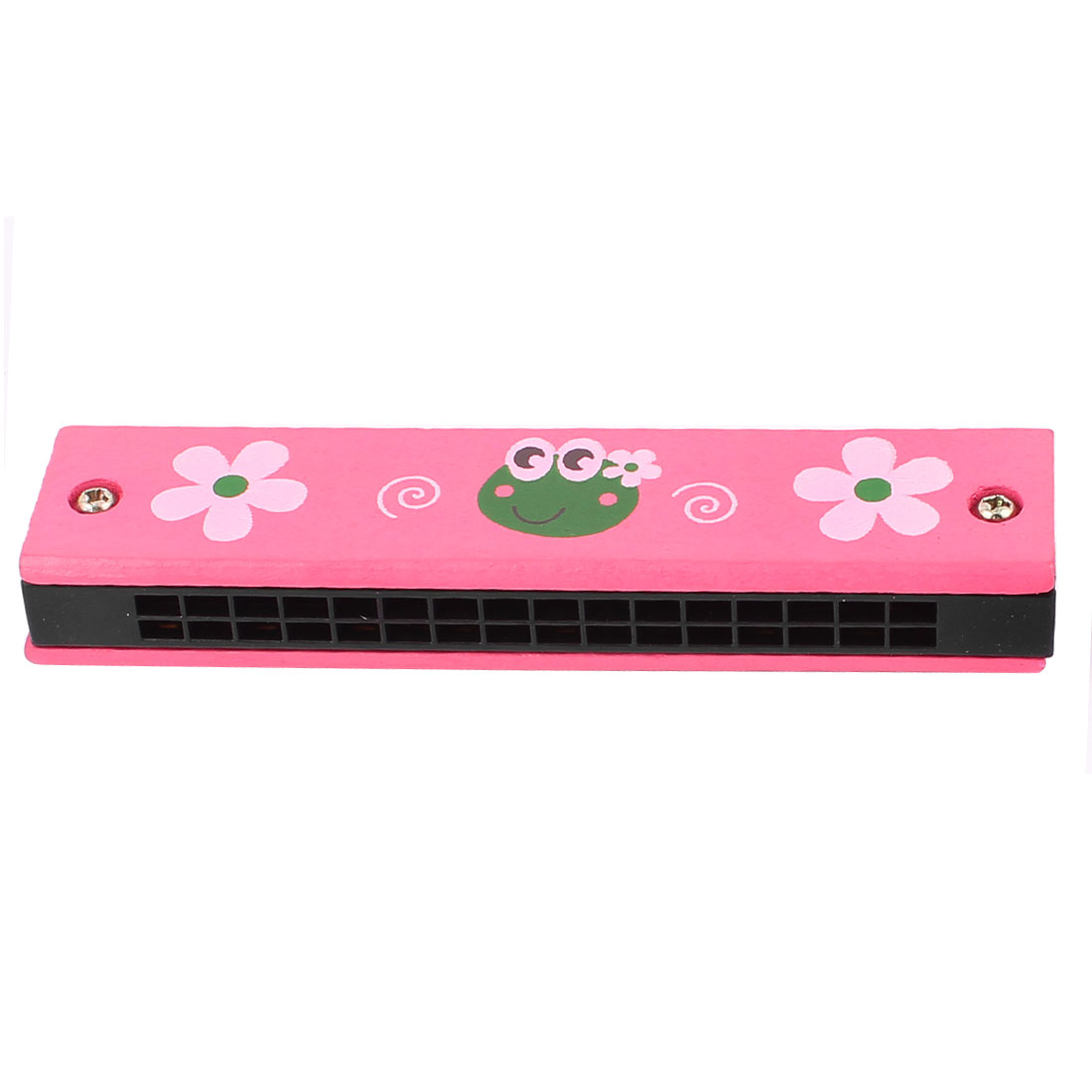Flower Printed Wood Dual Rows 32 Hole Red Harmonica