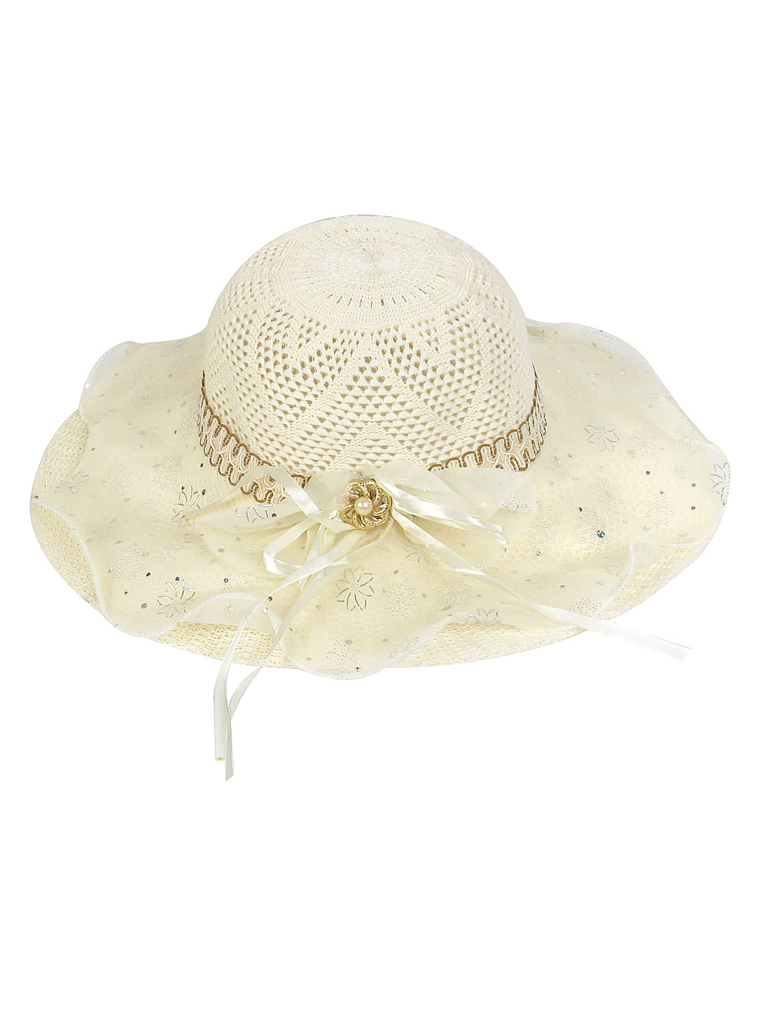 Bowknot Decor Organza Layer Beige Wide Brim Sun Hat for Lady
