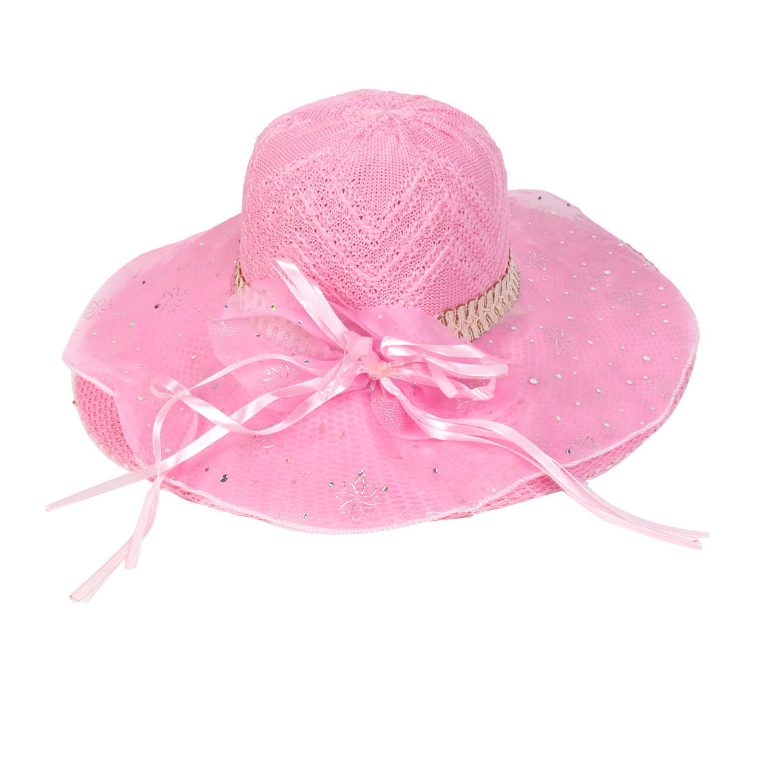 Pink Single Layer Chiffon Bowknot Detail Woven Sun Cap Hat
