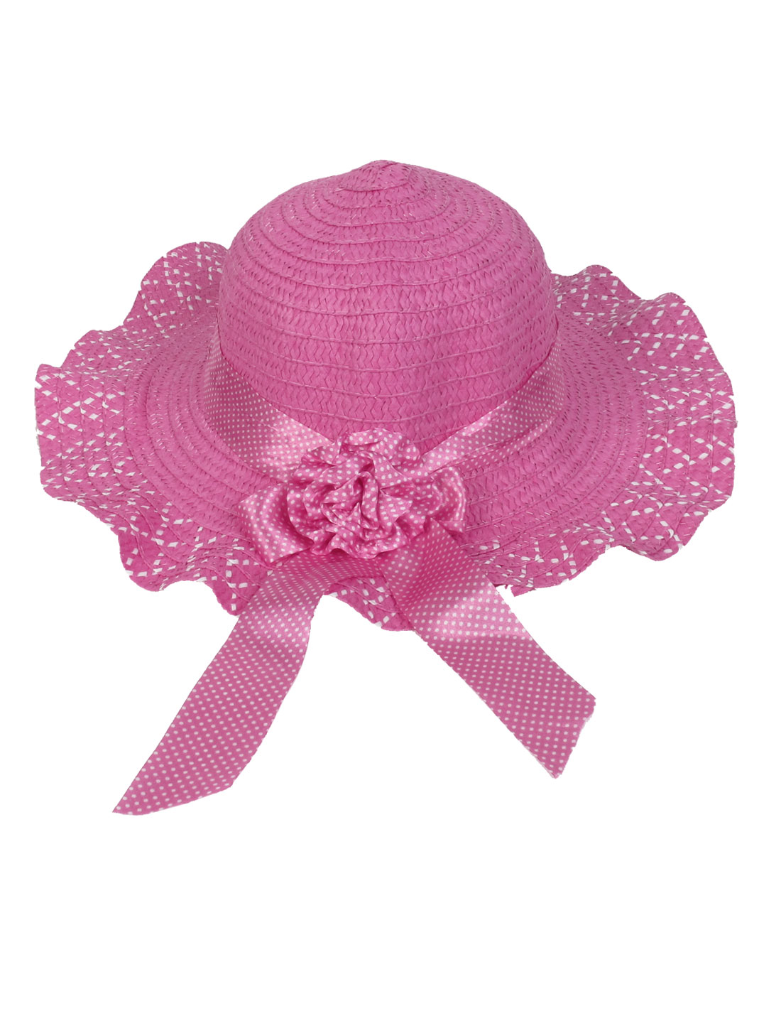 White Dotted Flower Pattern Wide Brim Fuchsia Sun Hat