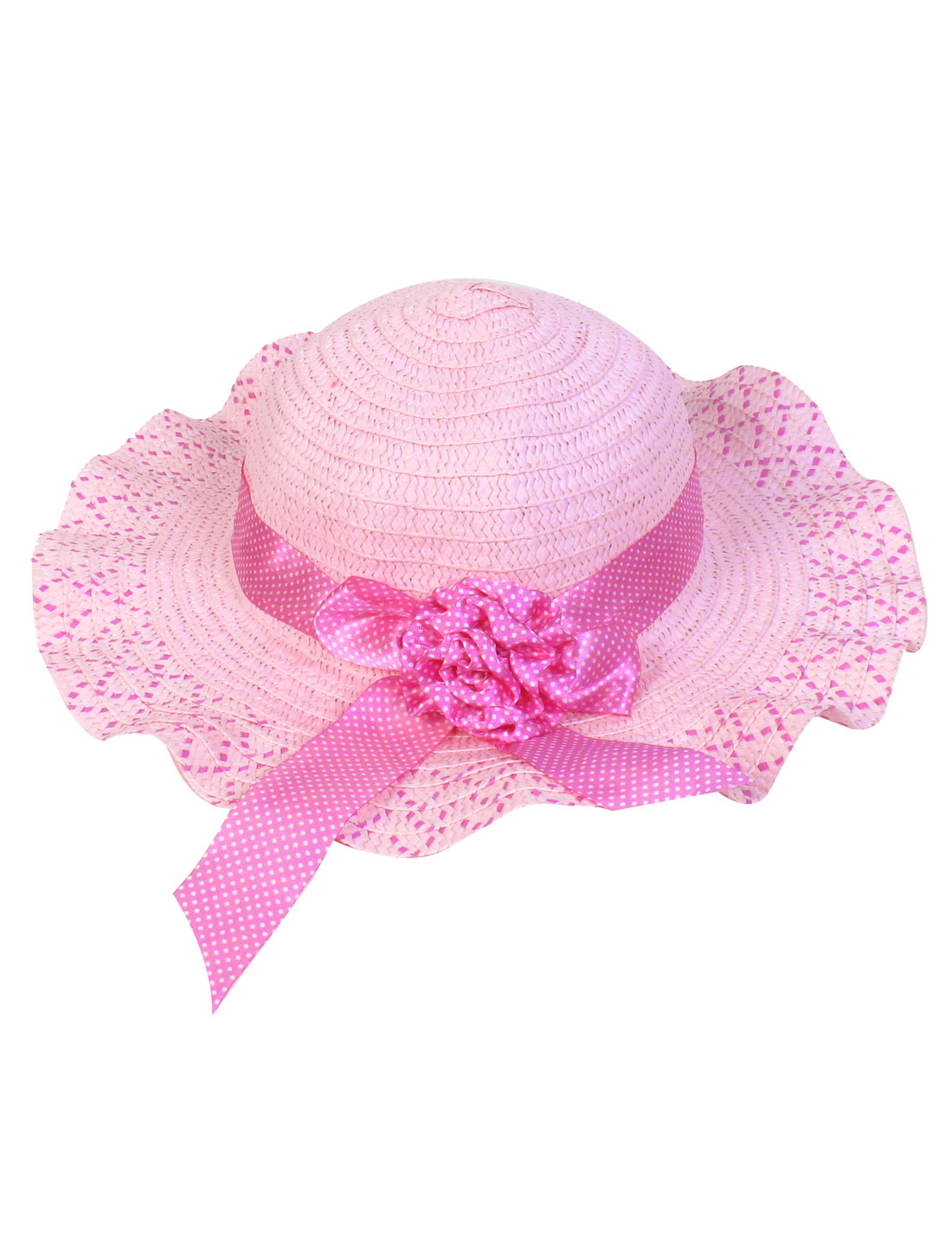 Flower Decor Fuchsia Dotted Wide Brim Pink Sun Hat for Lady