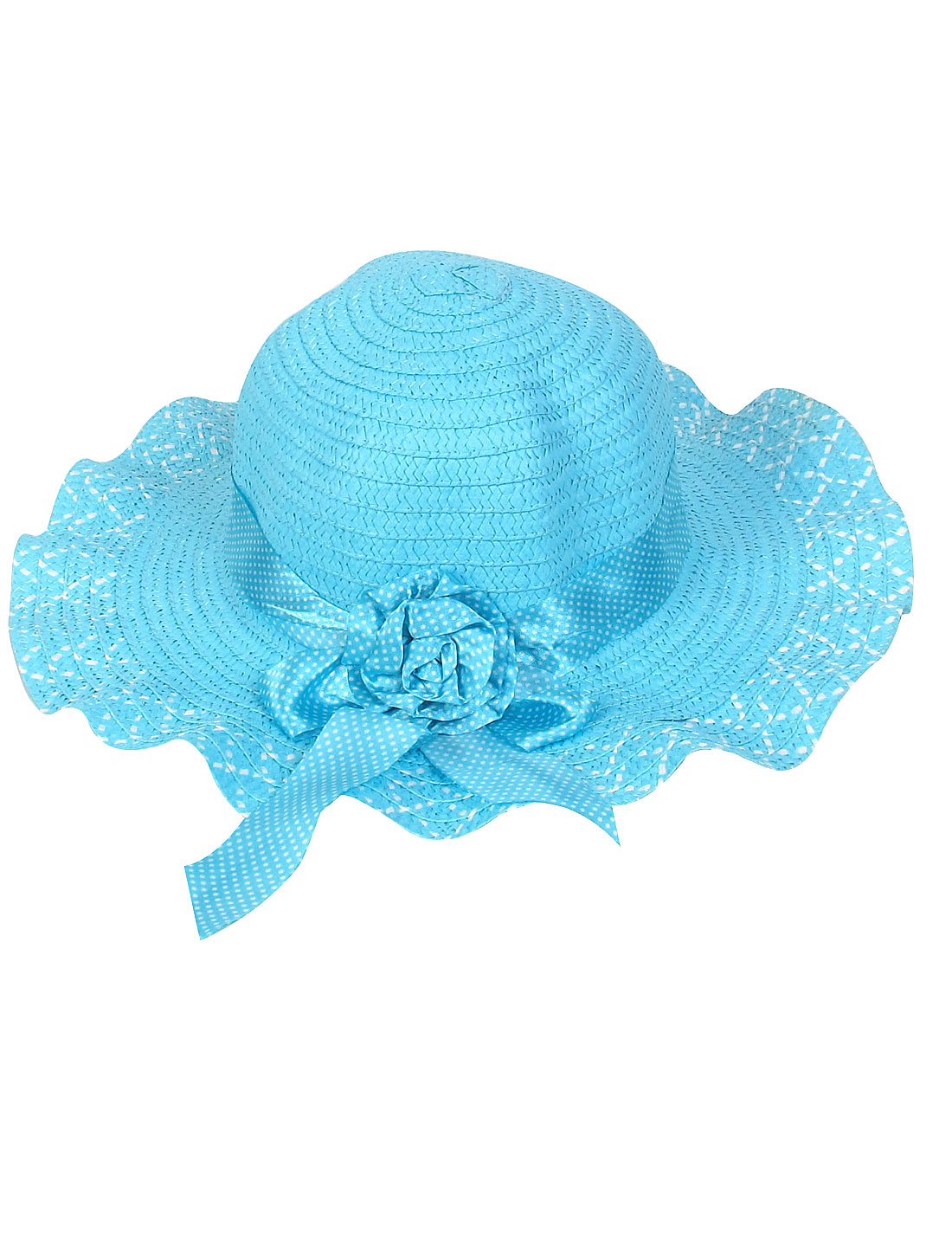 White Dotted Blue Strap Flower Decor Wide Brim Lady Hat
