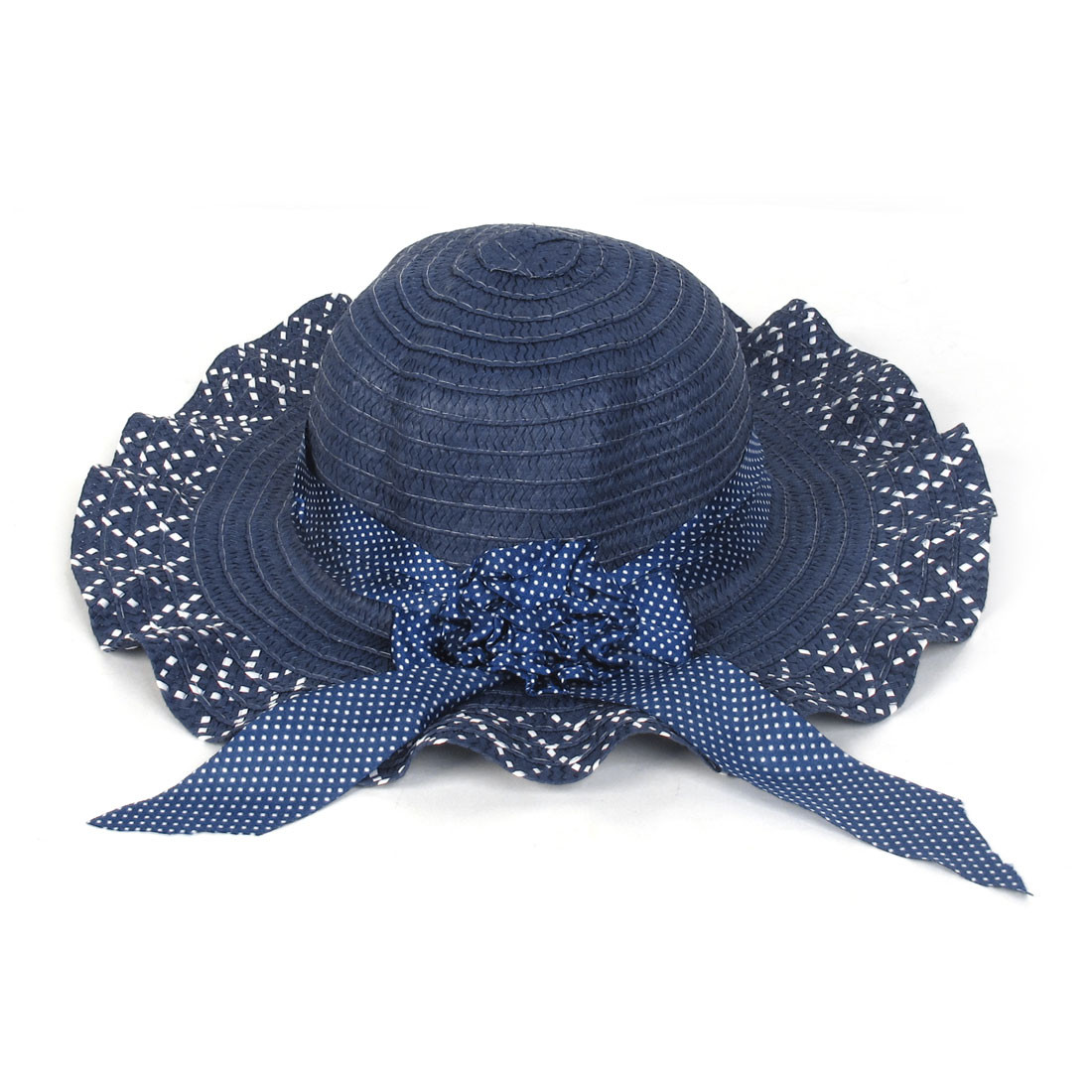 White Dotted Flower Decor Dark Blue Straw Lady Hat
