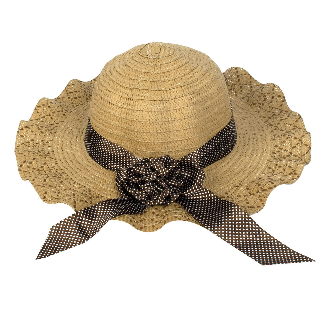 White Dots Printed Stretchy Strap Wide Brim Brown Beach Straw Hat