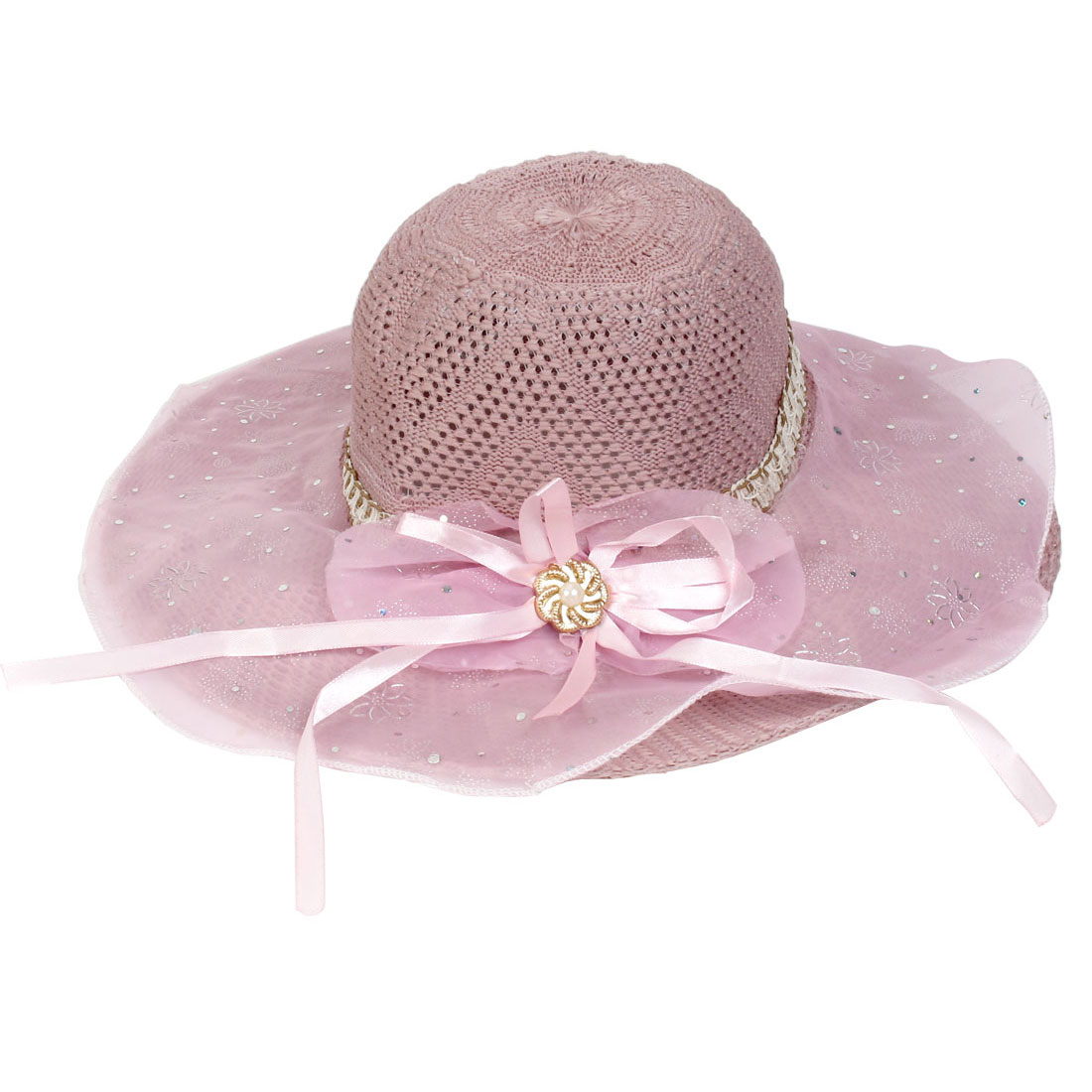 Bowknot Pattern Wide Brim Pink Hollow Woven Sun Hat for Lady
