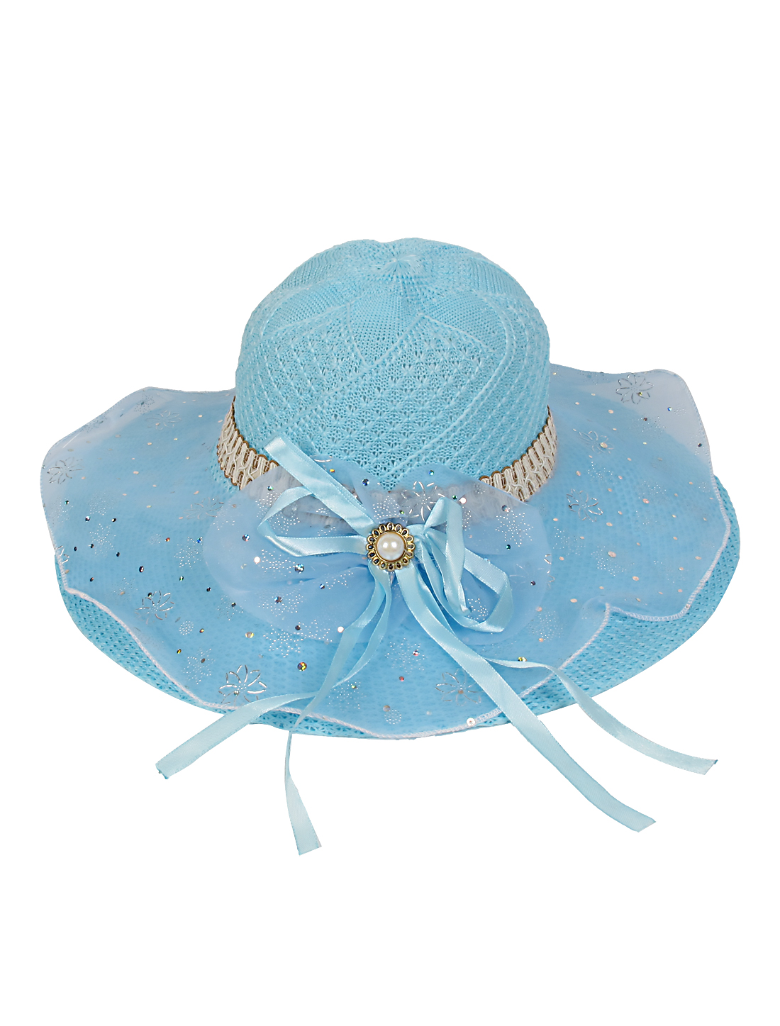 Sky Blue Wide Brim Organza Bowknot Decor Beach Sun Hat for Lady