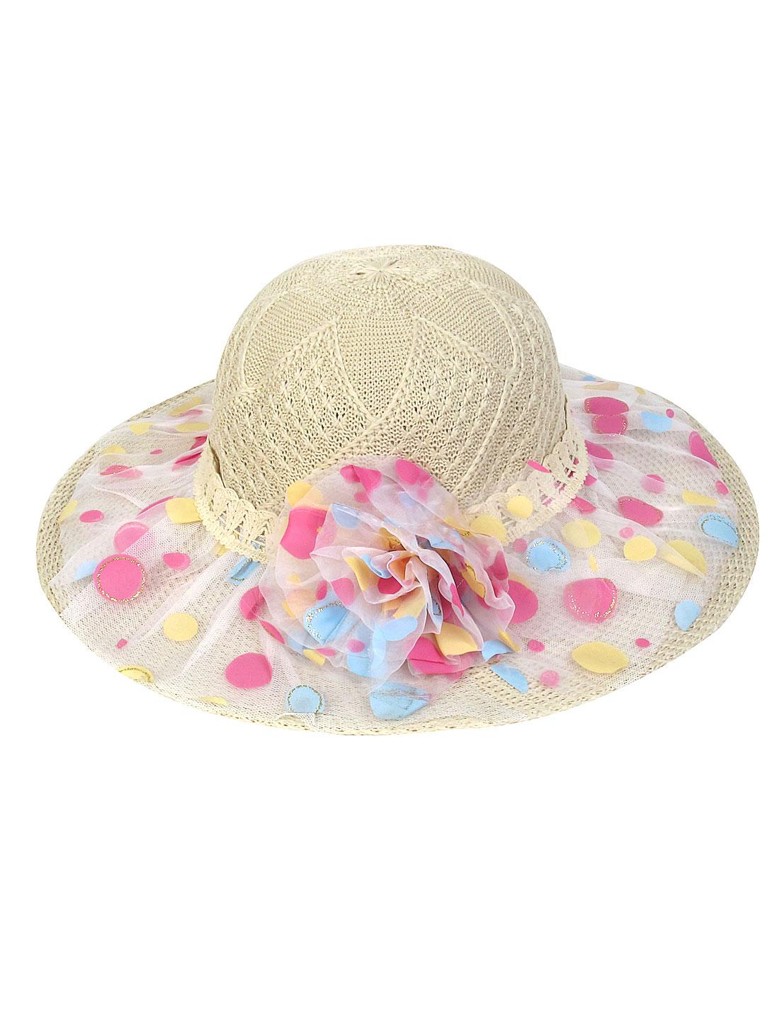 Dotted Lace Wide Brim Flower Pattern Beige Lady Hat