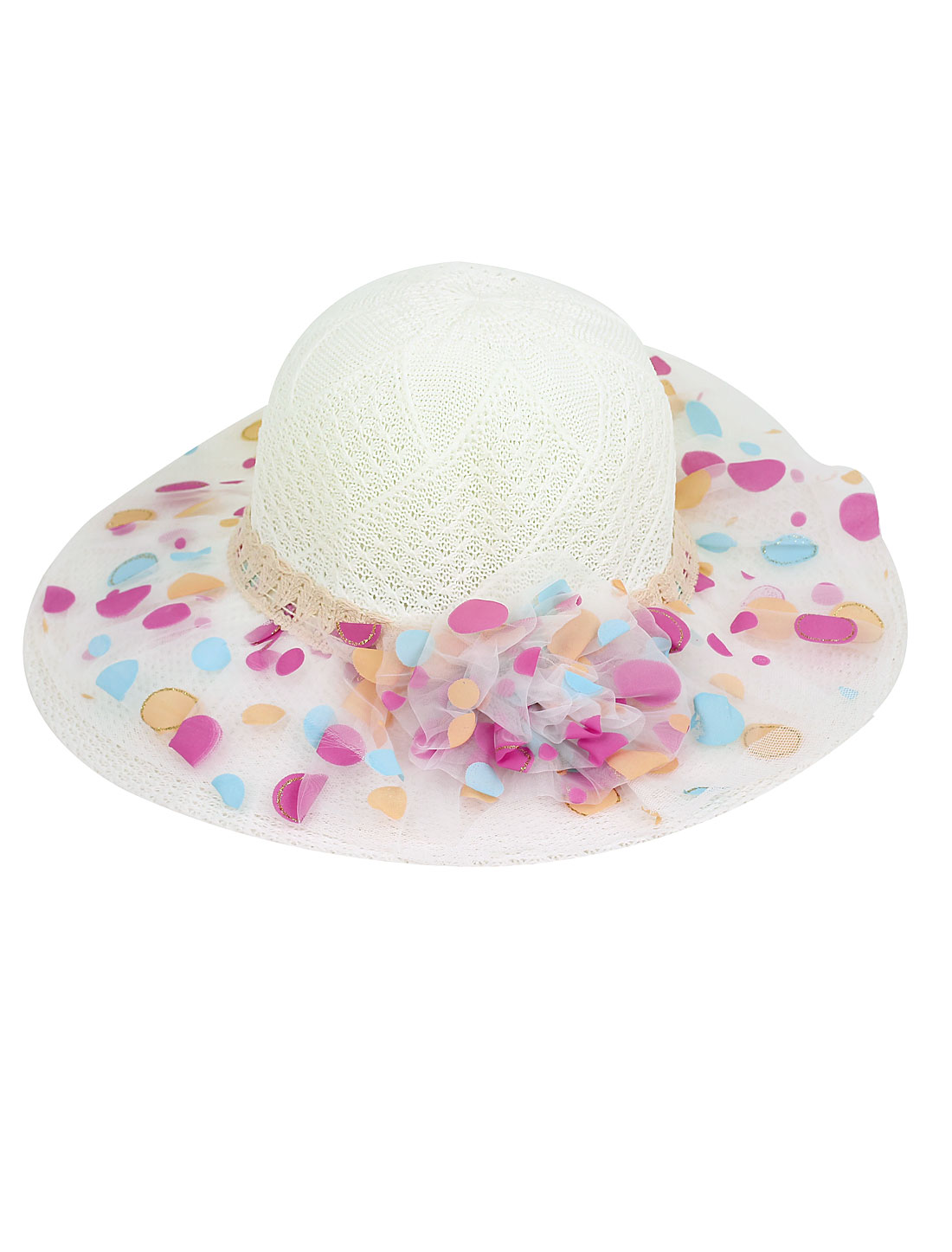 Dots Printed Flower Decor Double Layers Chiffon Wide Brim Sun Hat