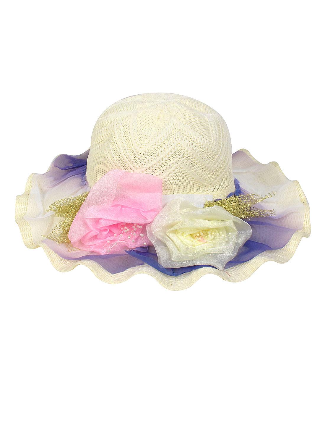 Dual Flower Decor Braid Wide Brim Beige Sun Hat for Lady