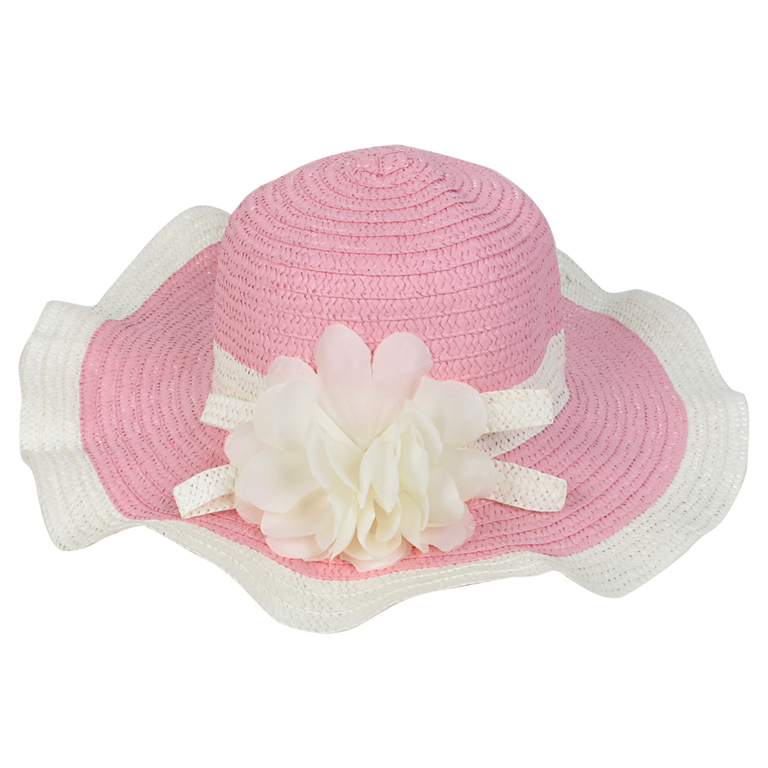 Beige Pink Wide Brim Flower Beach Sun Cap Hat for Woman
