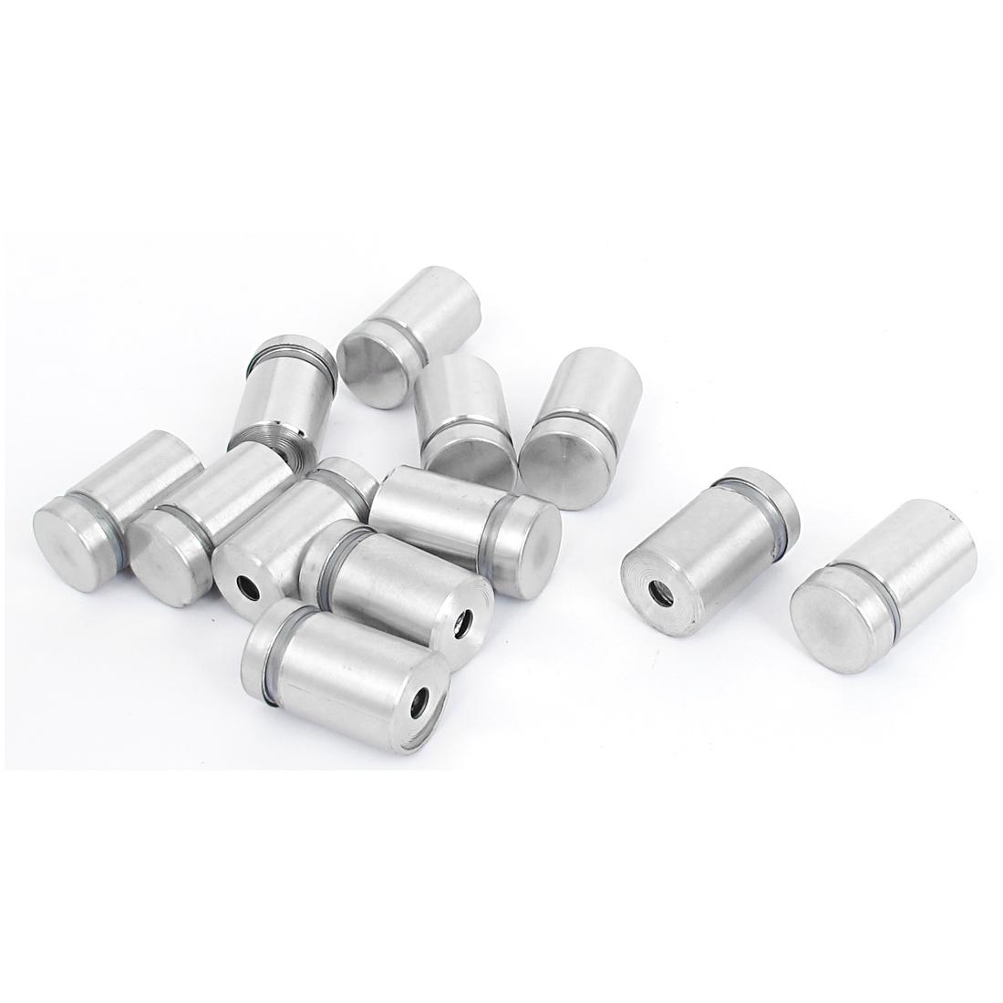 16mm x 25mm Stainless Steel Advertising Frameless Glass Standoff Pins 12pcs