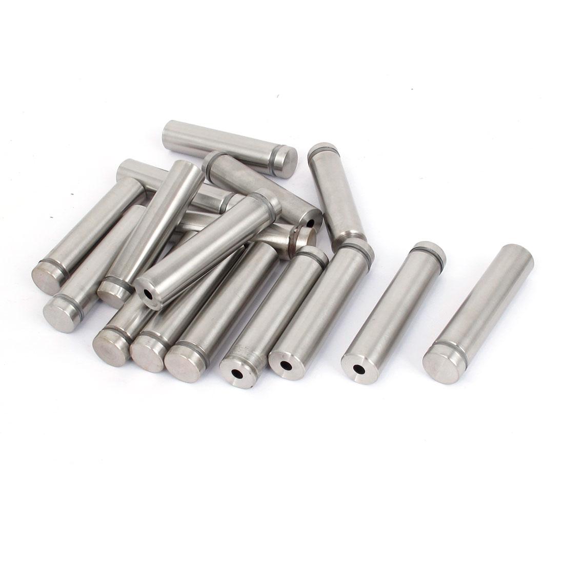 16mm x 70mm Stainless Steel Advertising Frameless Glass Standoff Pins 16pcs