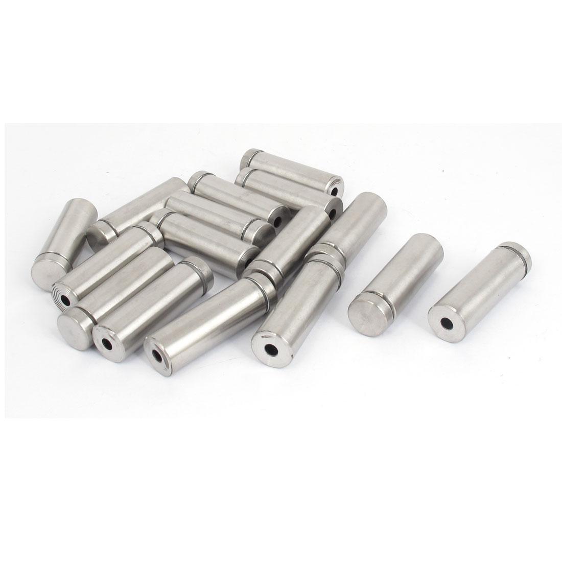 16mm x 50mm Stainless Steel Advertising Frameless Glass Standoff Pins 16pcs
