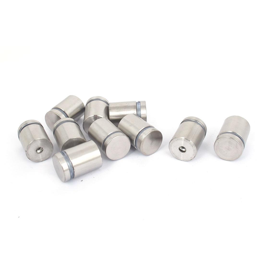19mm x 25mm Stainless Steel Advertising Frameless Glass Standoff Pins 10pcs