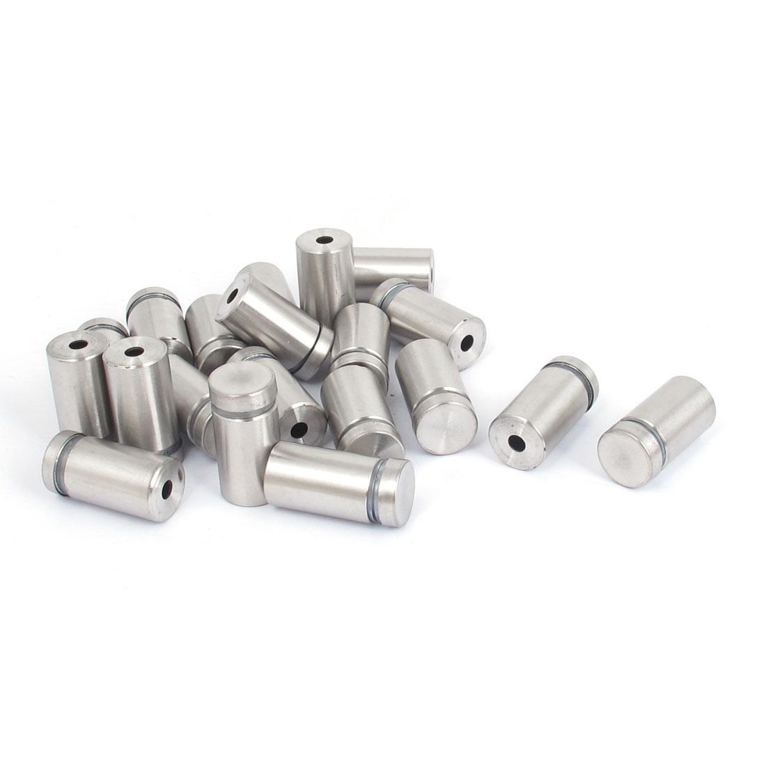 16mm x 30mm Stainless Steel Advertising Frameless Glass Standoff Pins 20pcs