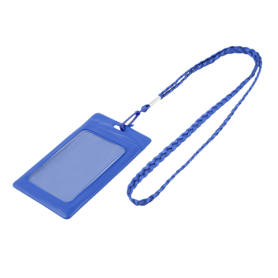 Plastic Vertical Style Lanyard Neck Strap Business Work ID Card Holder Blue