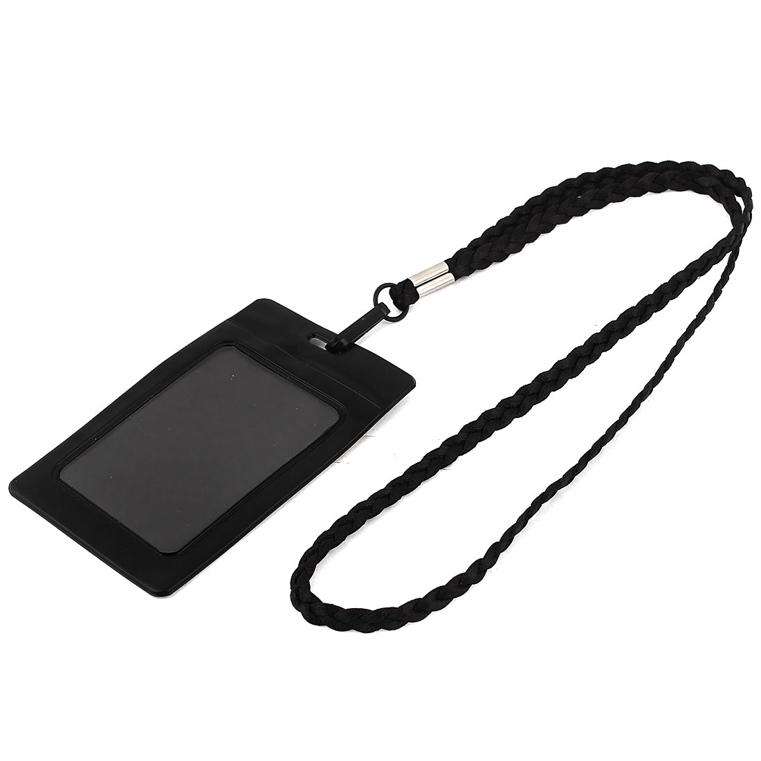 Plastic Vertical Style Lanyard Neck Strap Business Work ID Card Holder Black