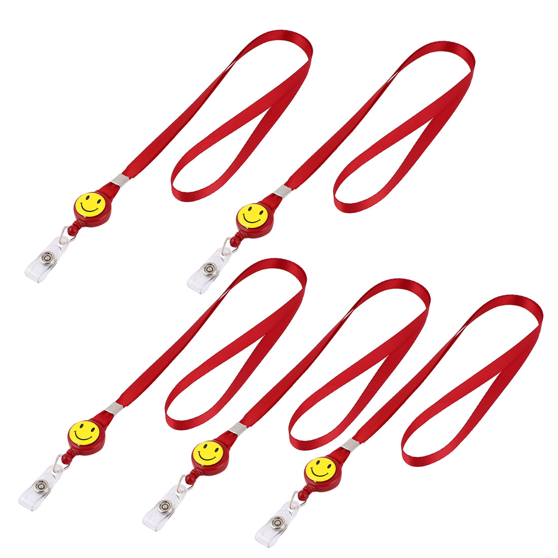 Smile Face Design Retractable Reel ID Card Lanyard Neck Strap 5 Pcs Red
