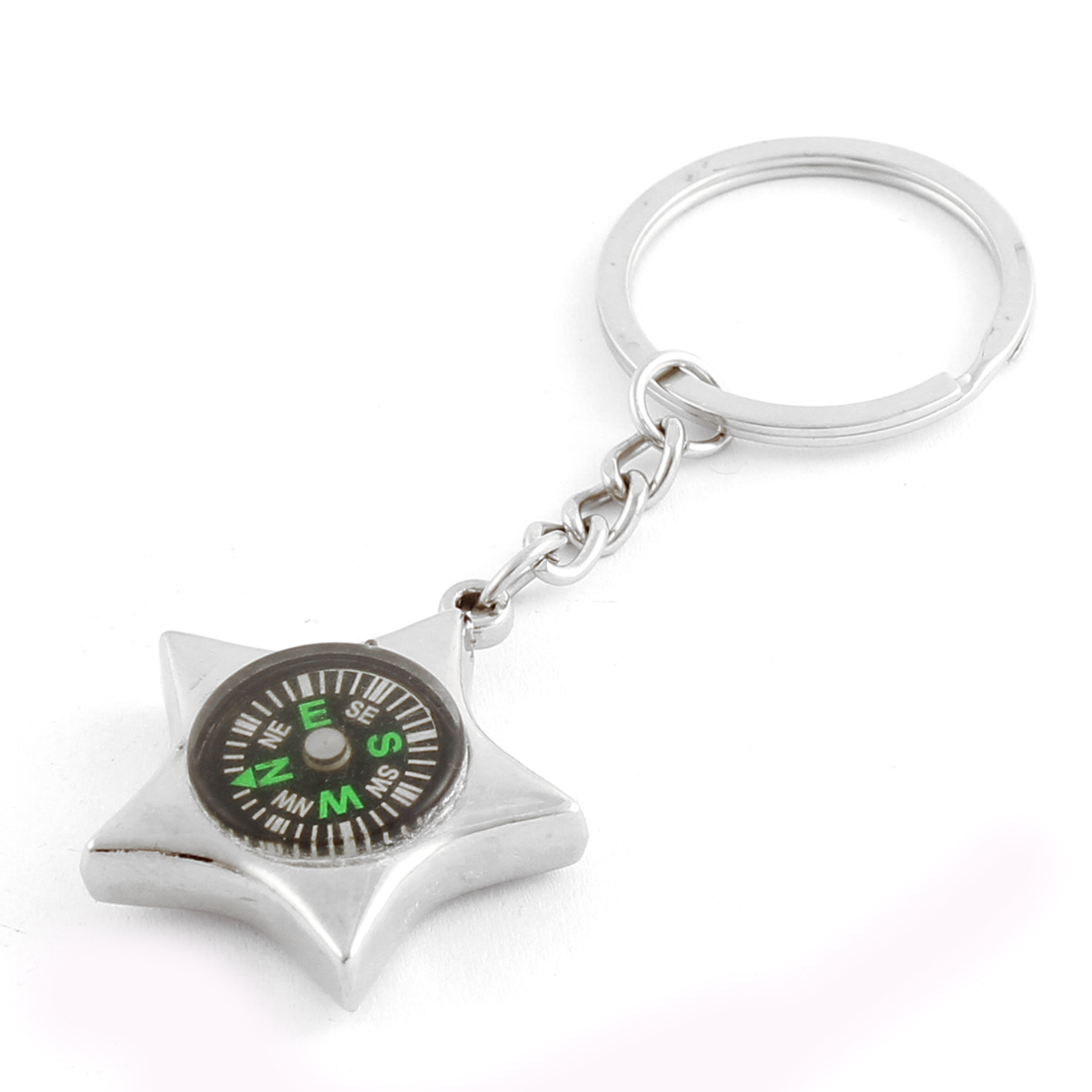 Outdoor Star Shaped Pendant Compass Keys Holder Keyring Keychain Silver Tone