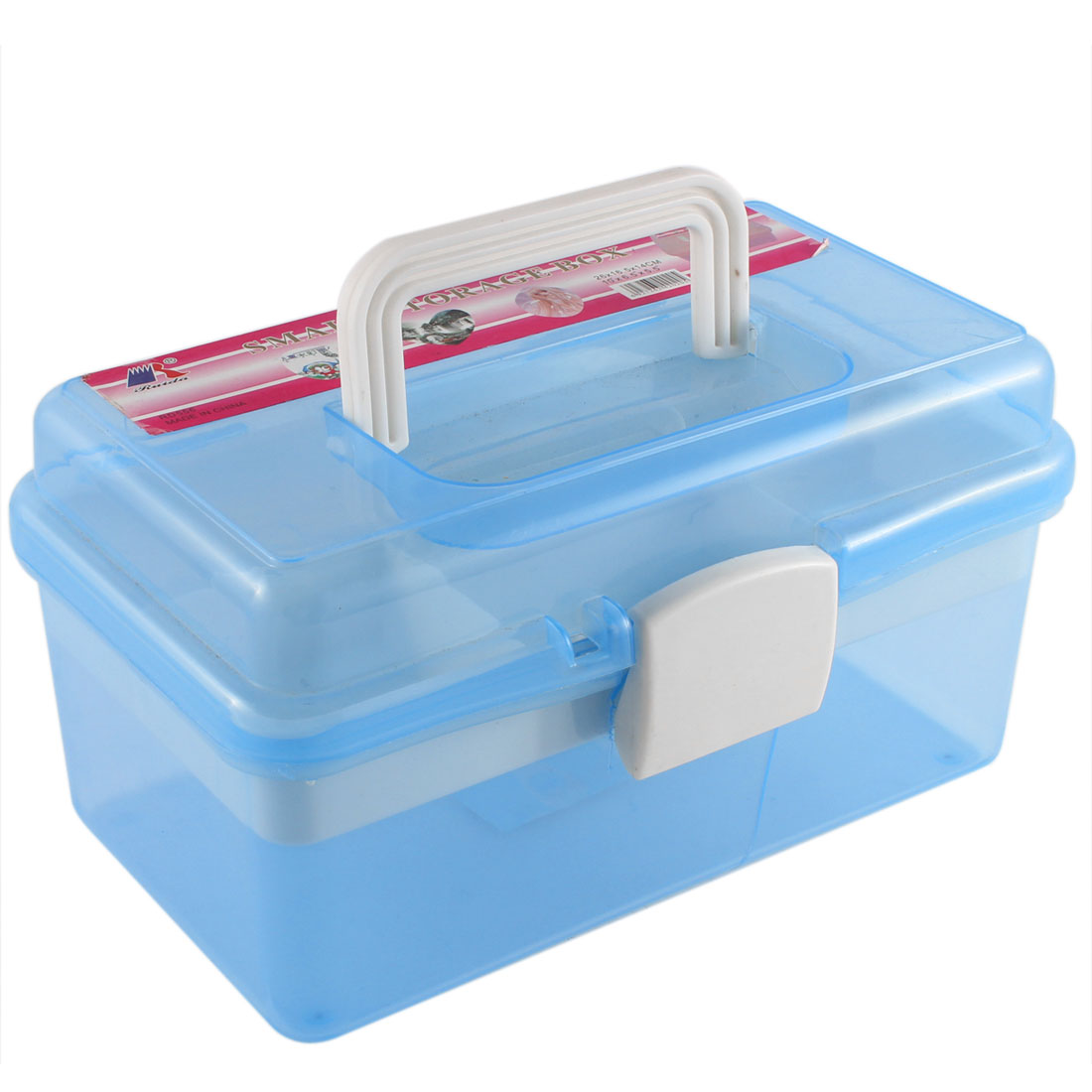 Clear Blue Plastic Rectangle Shaped Hardware Tool Storage Box Holder Case