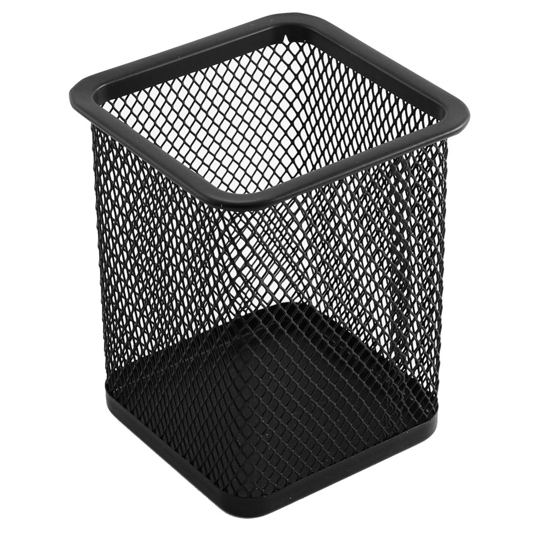 Office Metal Mesh Square Shaped Pen Pencil Case Holder Organizer Container Black