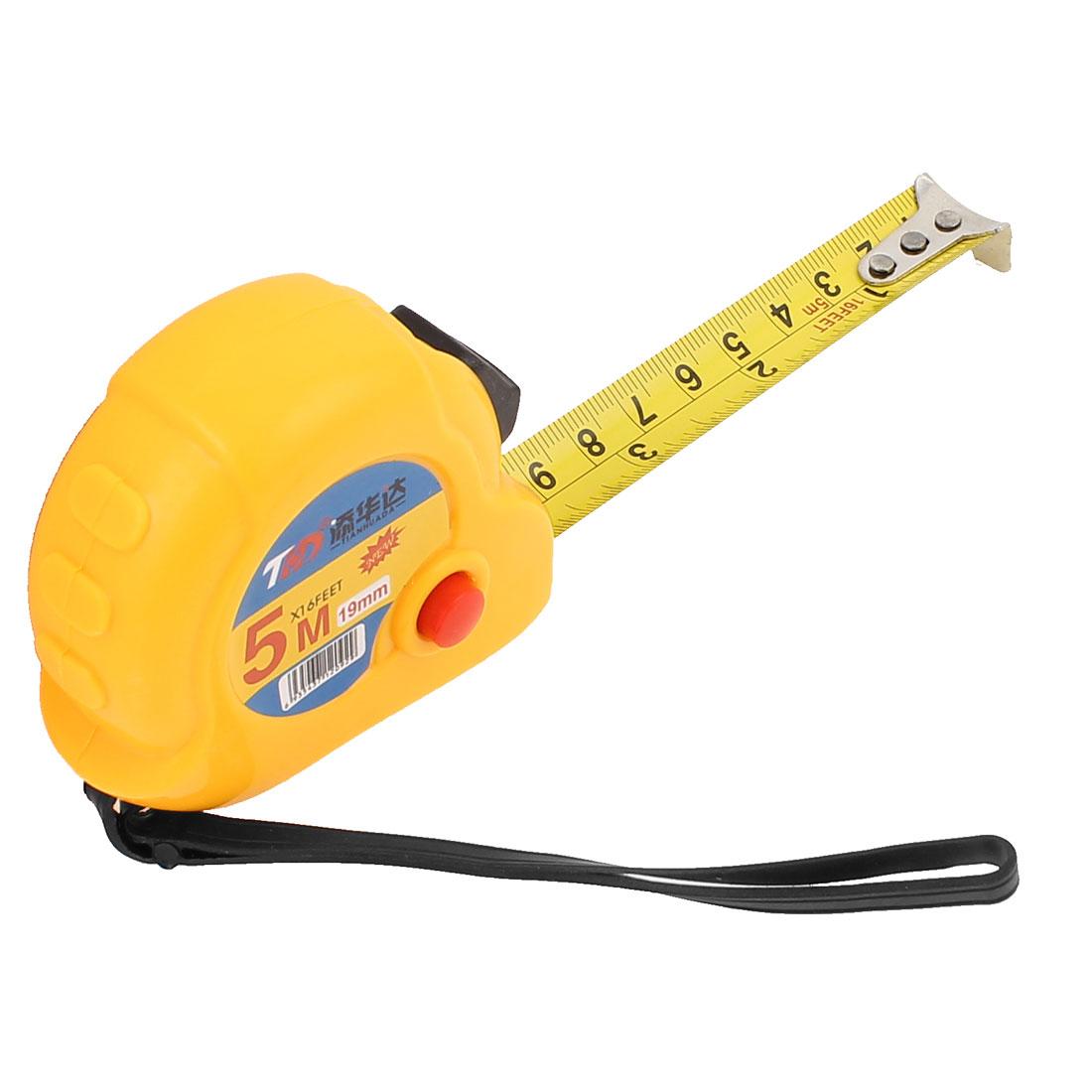 Self-Retract Design 5 Meter 16.4Ft Portable Flexible Tape Measure Ruler Yellow
