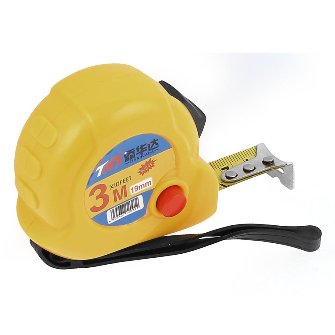 Self-Retract Design 3 Meter 10Ft Portable Flexible Tape Measure Ruler Yellow