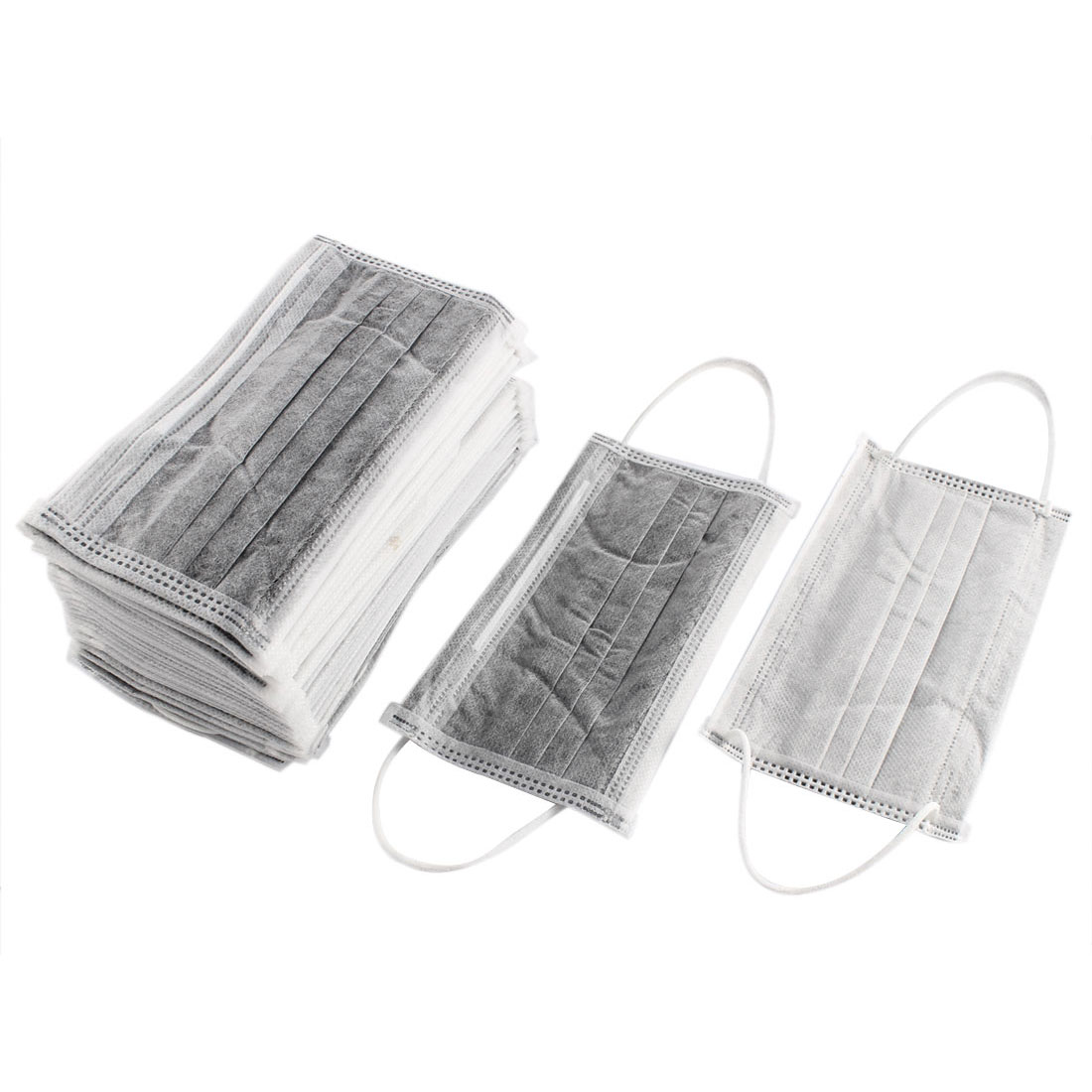 50 Pcs Adult Anti Dust Ribbed Activated Carbon Protective Mouth Mask Gray