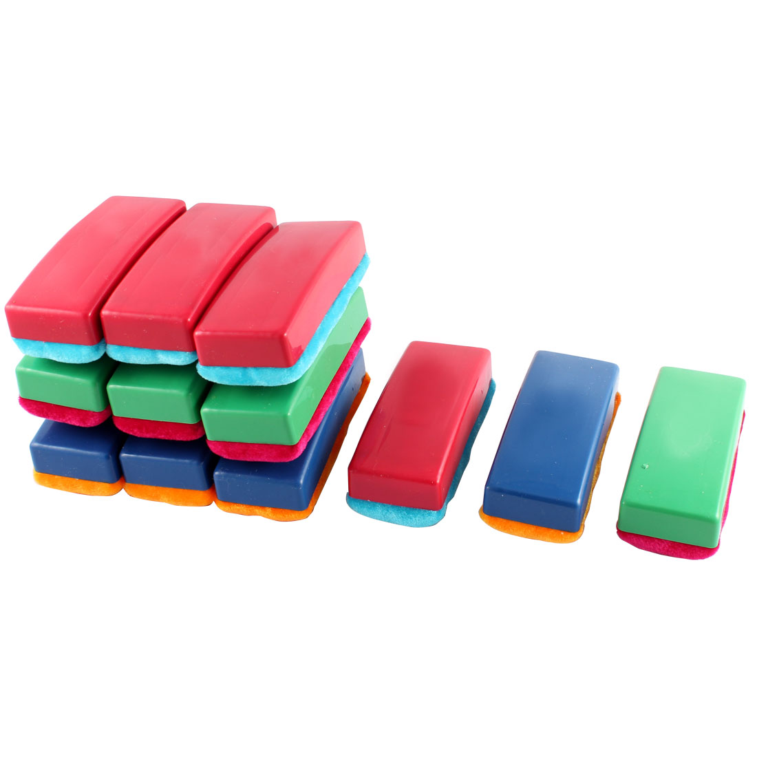 12 Pcs Plastic Shell Magnetic Blackboard Eraser Chalk Cleaner Red Blue Yellow