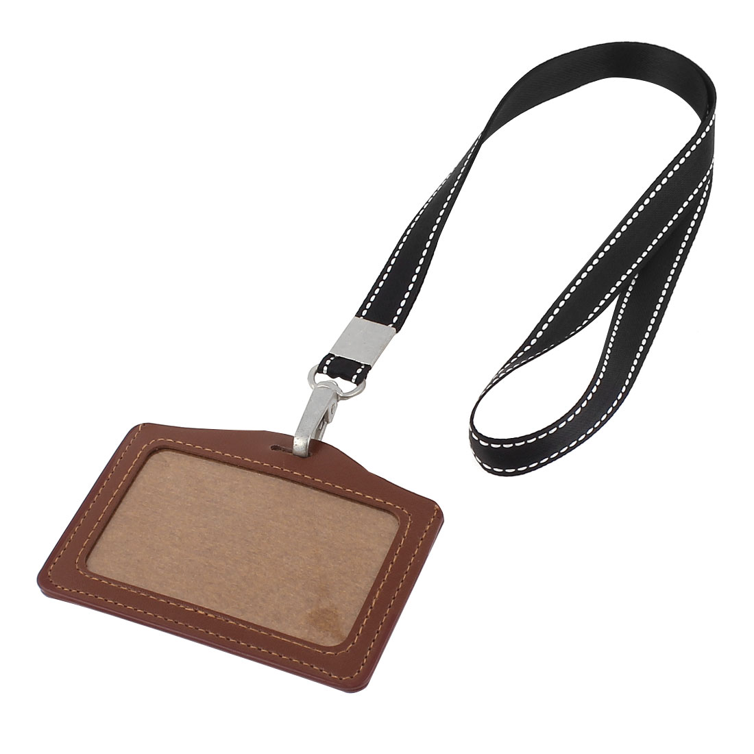 Brown Faux Leather Business ID Card Badge Horizontal Holder Lanyard Neck Strap