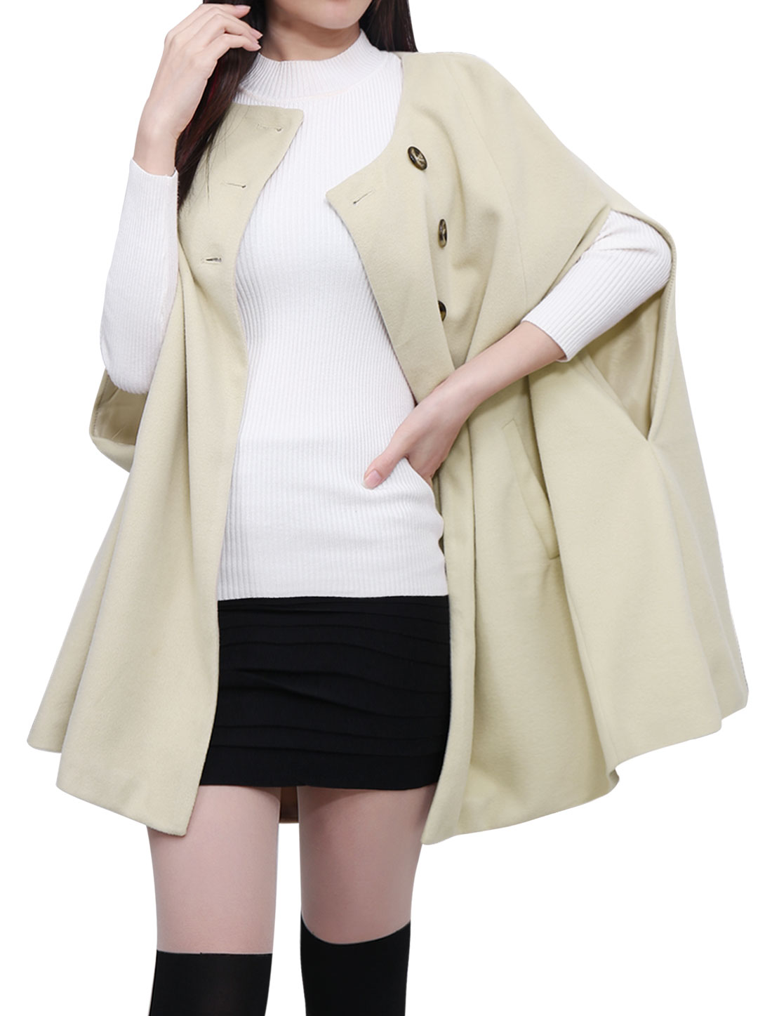 Women Round Neck Slit Sleeves Worsted Poncho Coat Beige XS