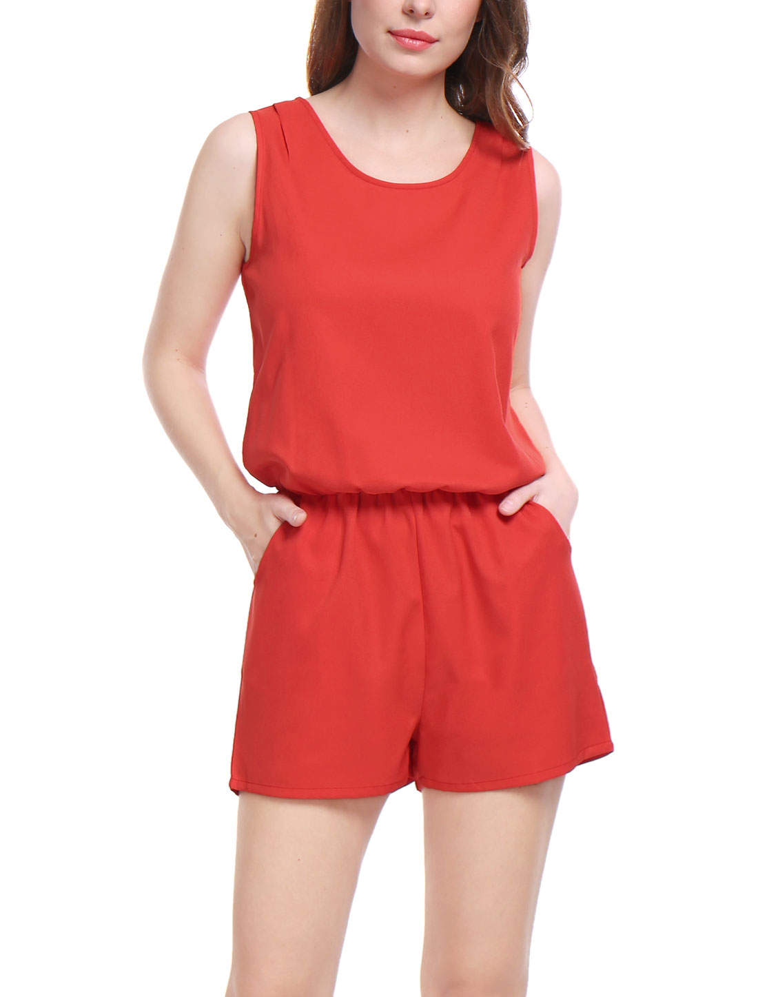 Ladies Round Neck Front Pockets Cut Out Back Casual Playsuit Red M