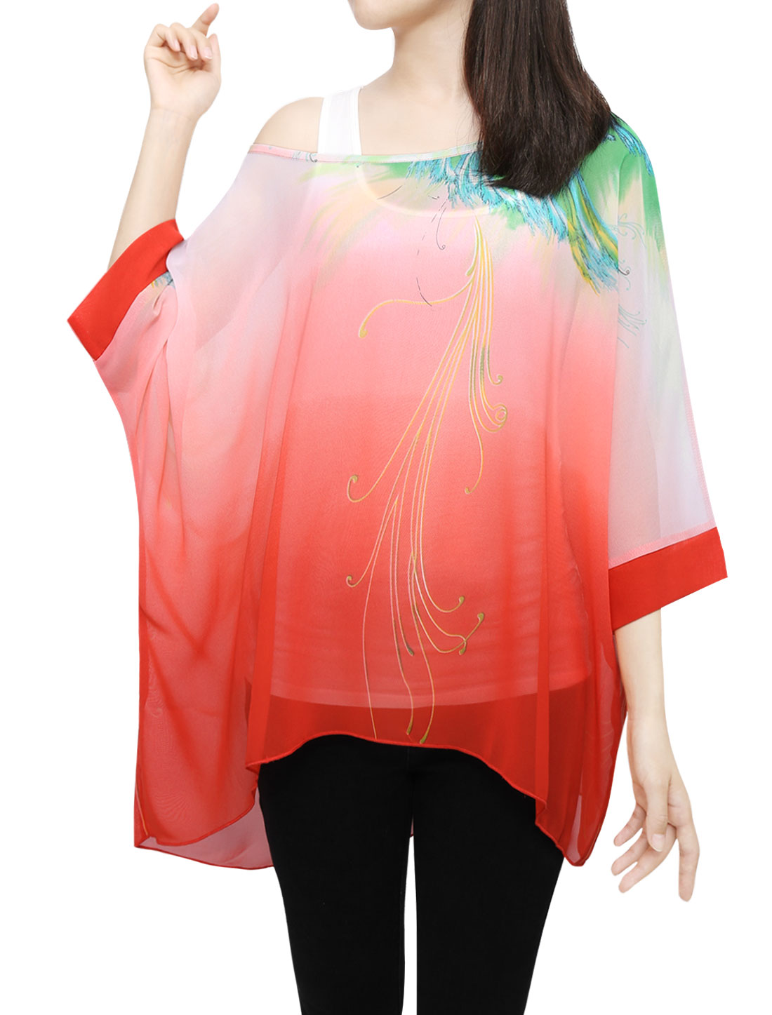 Woman Novelty Prints Batwing Sleeve Semi Sheer Loose Tunic Top Red XS