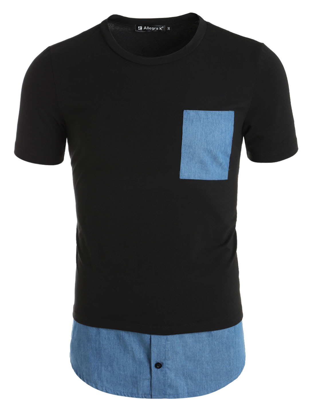 Men Chest Pocket Chambray Hem Short Sleeves Longline Tee Shirt Black S