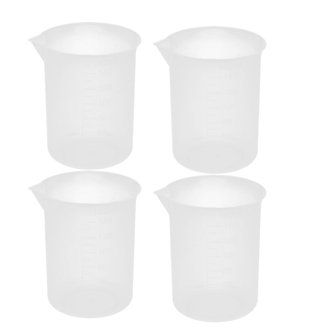 4 Pcs Lab Plastic Liquid Storage Measuring Testing Beaker 150mL Capacity
