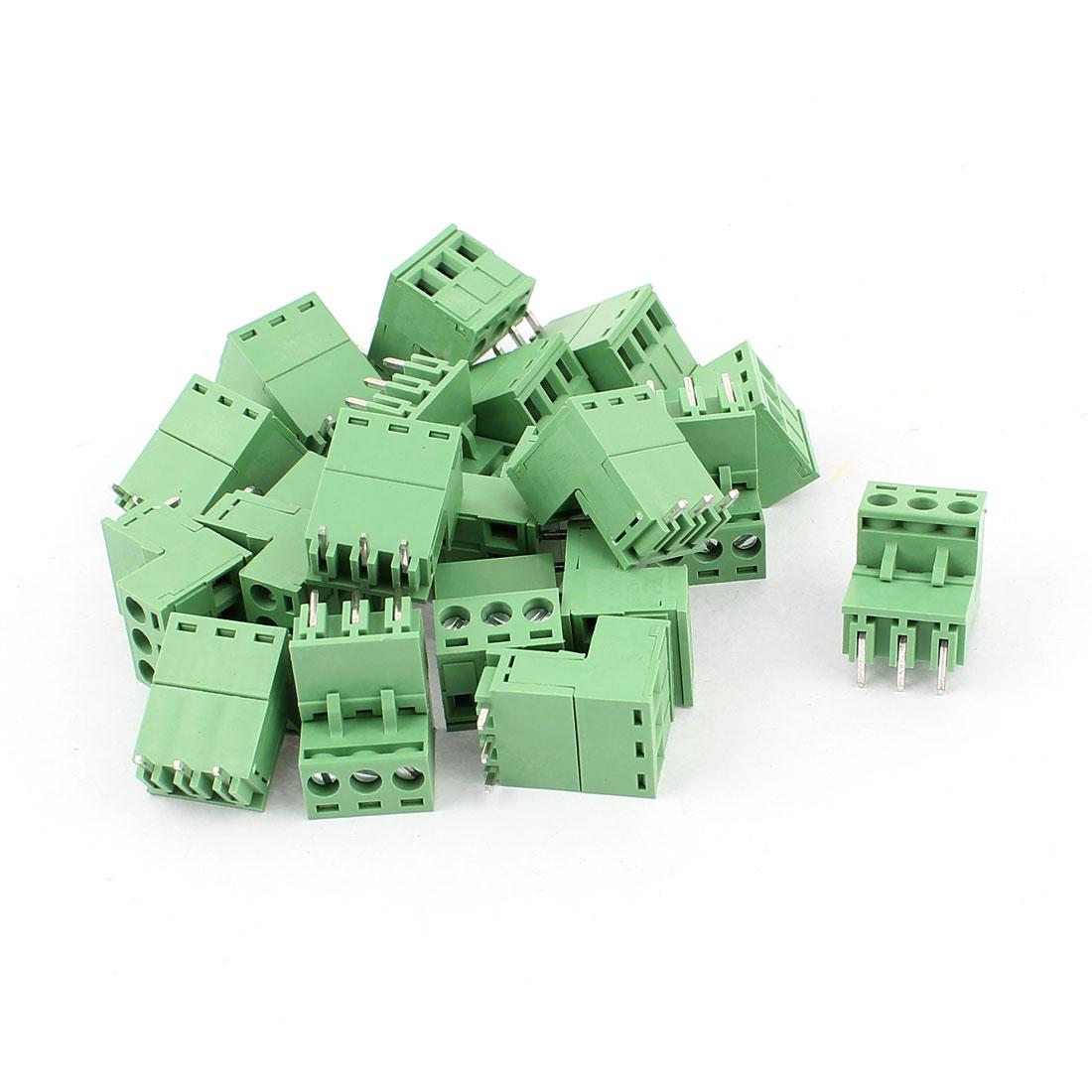 20 Pcs AC 300V 10A 3 Terminals PCB Block Connector 5.08mm Pitch Green