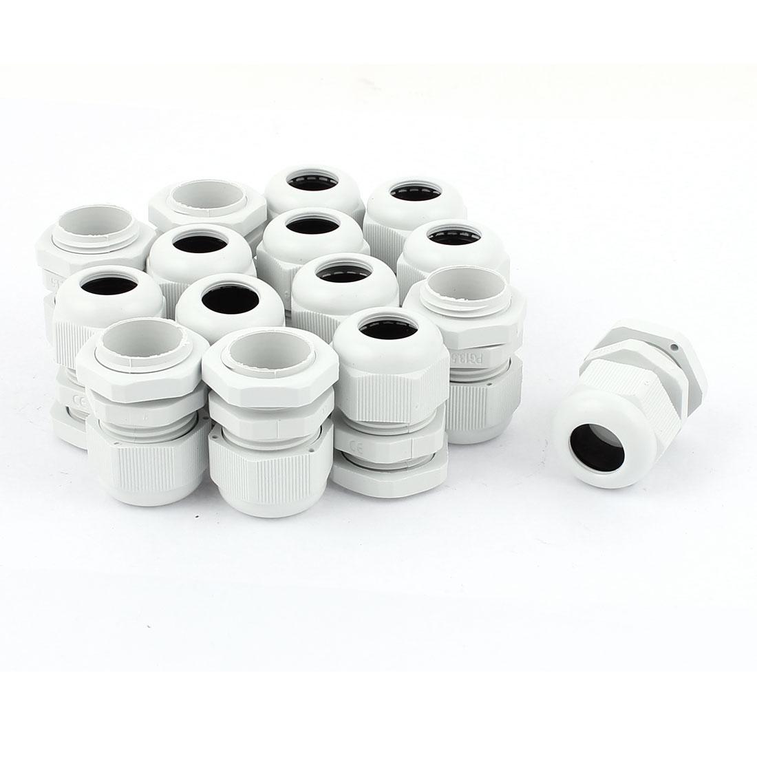15 Pcs 6-12mm White Plastic Waterproof Cable Glands Connectors PG13.5