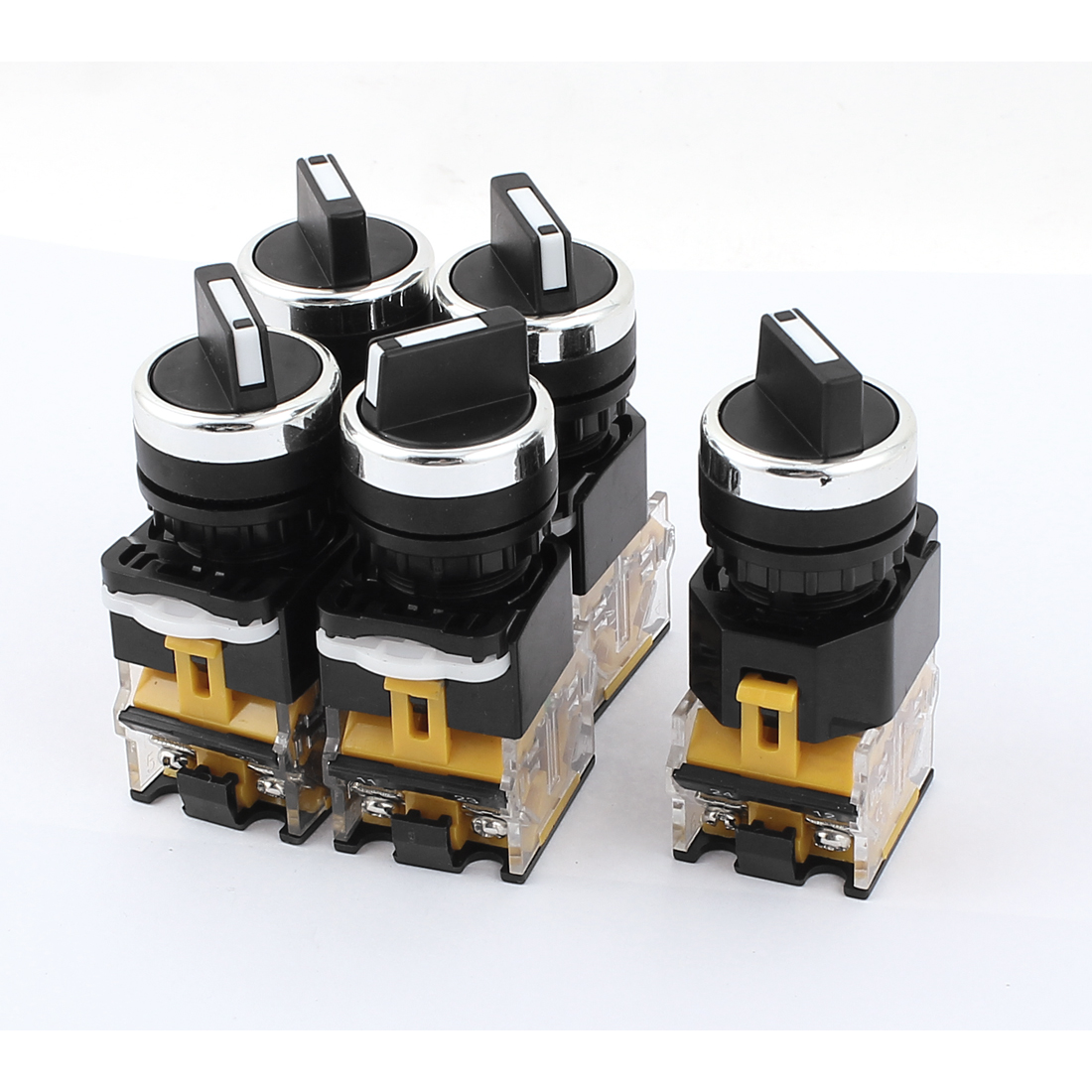 AC 380V 10A 2 Positions 1NO 1NC DPST Rotary Selector Select Switch Latching Lock 5 Pcs