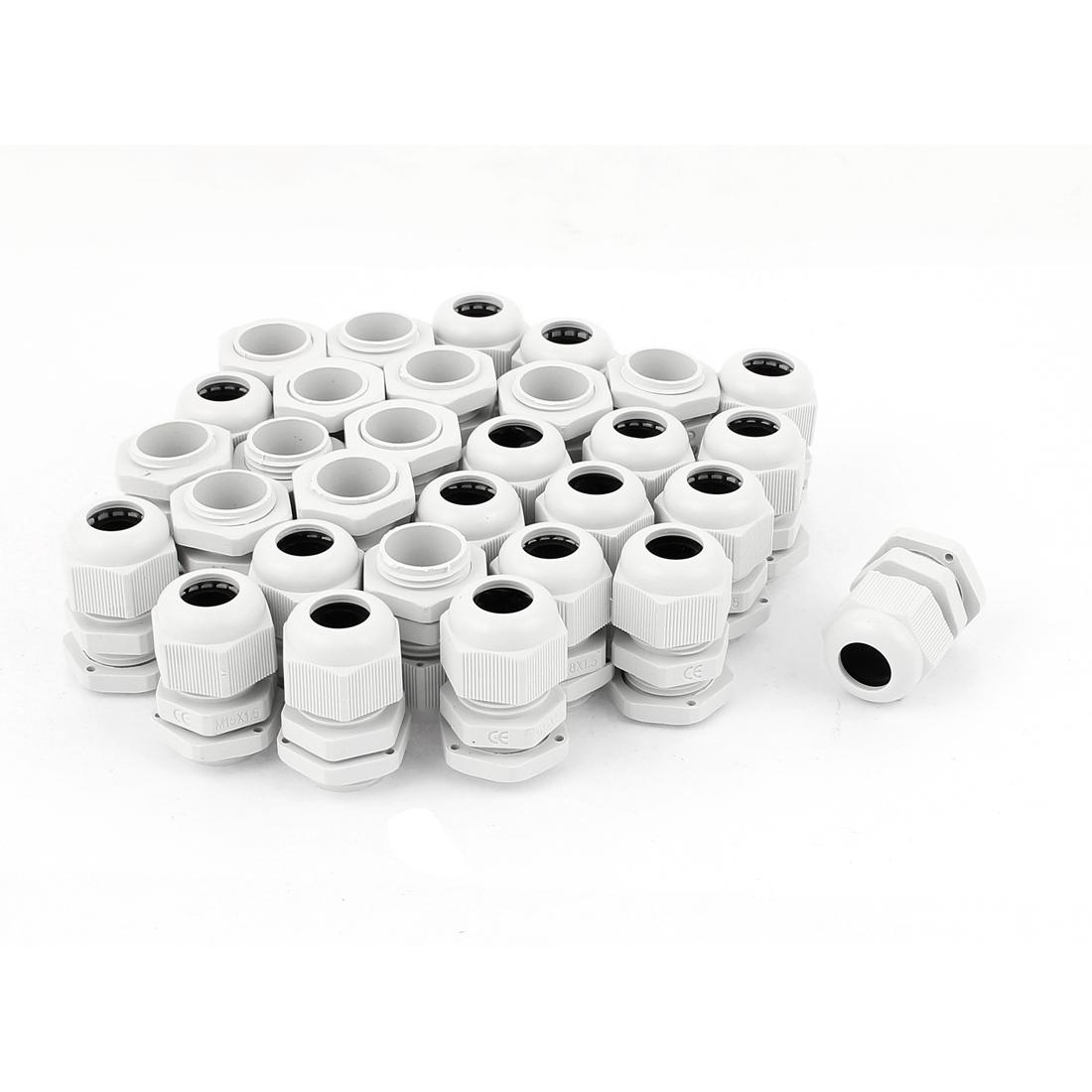 30 Pcs 5-10mm White Plastic Waterproof Cable Glands Connectors M18 x 1.5